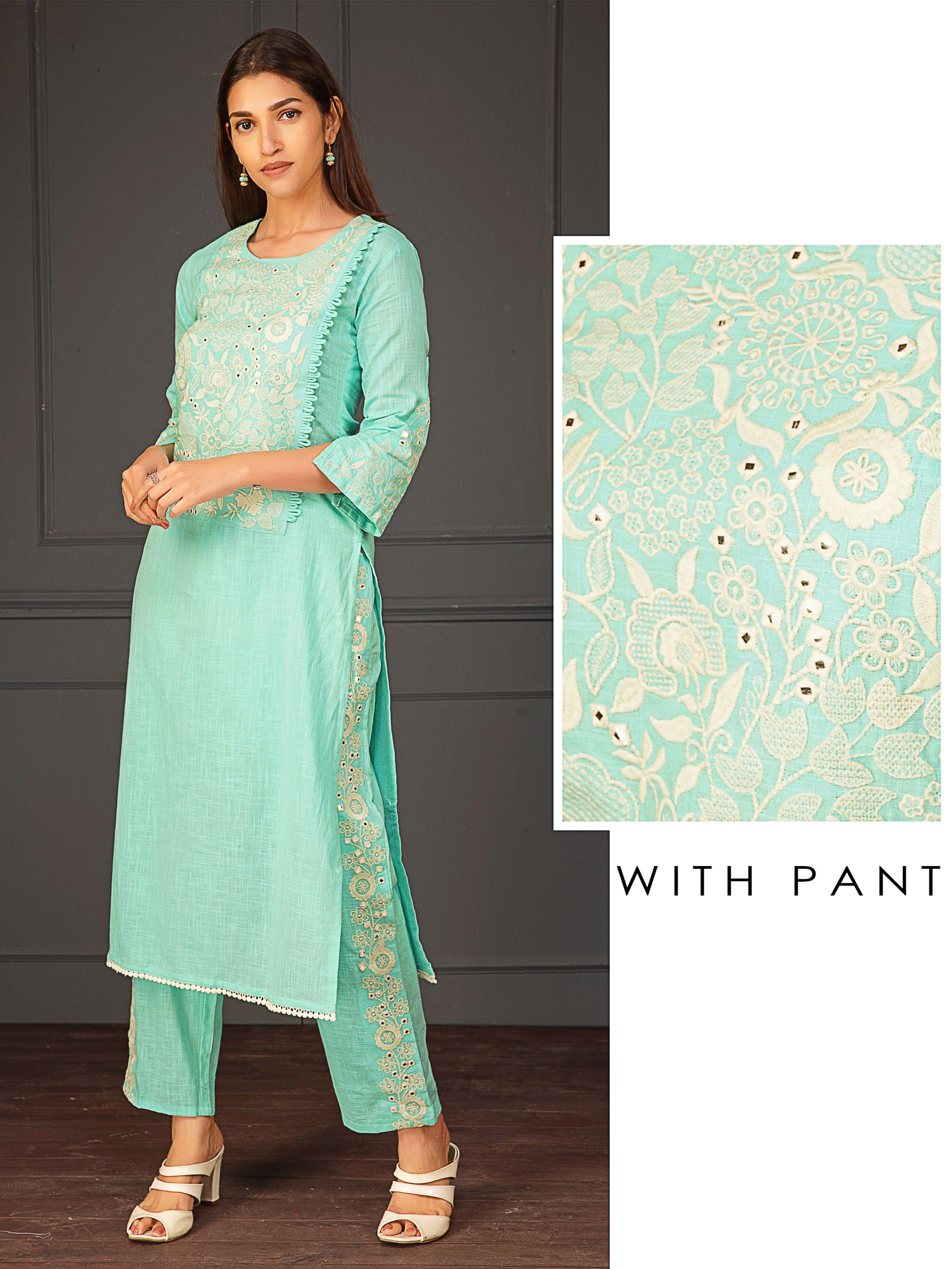Elegant Floral Embroidery And Mirror Work Kurta Pant Set - Blue