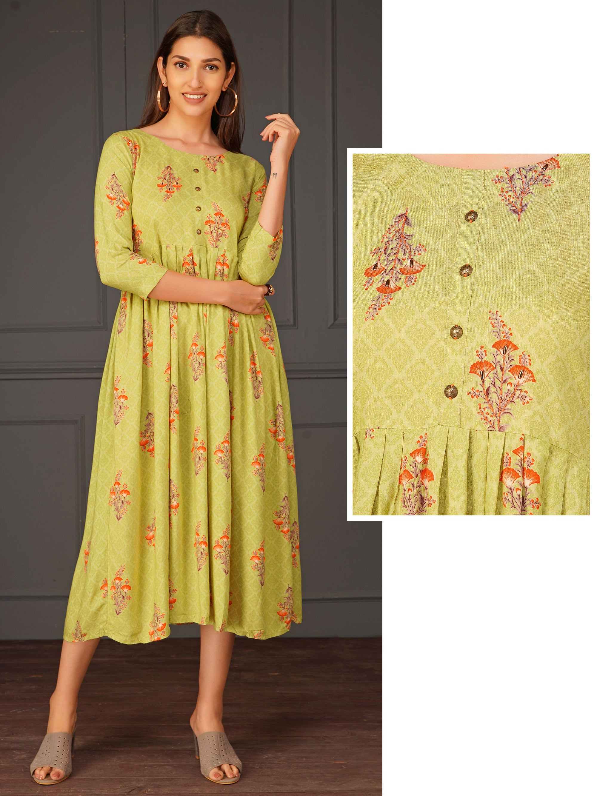 Chic Floral Print With Running Stitch A-line Dress - Green