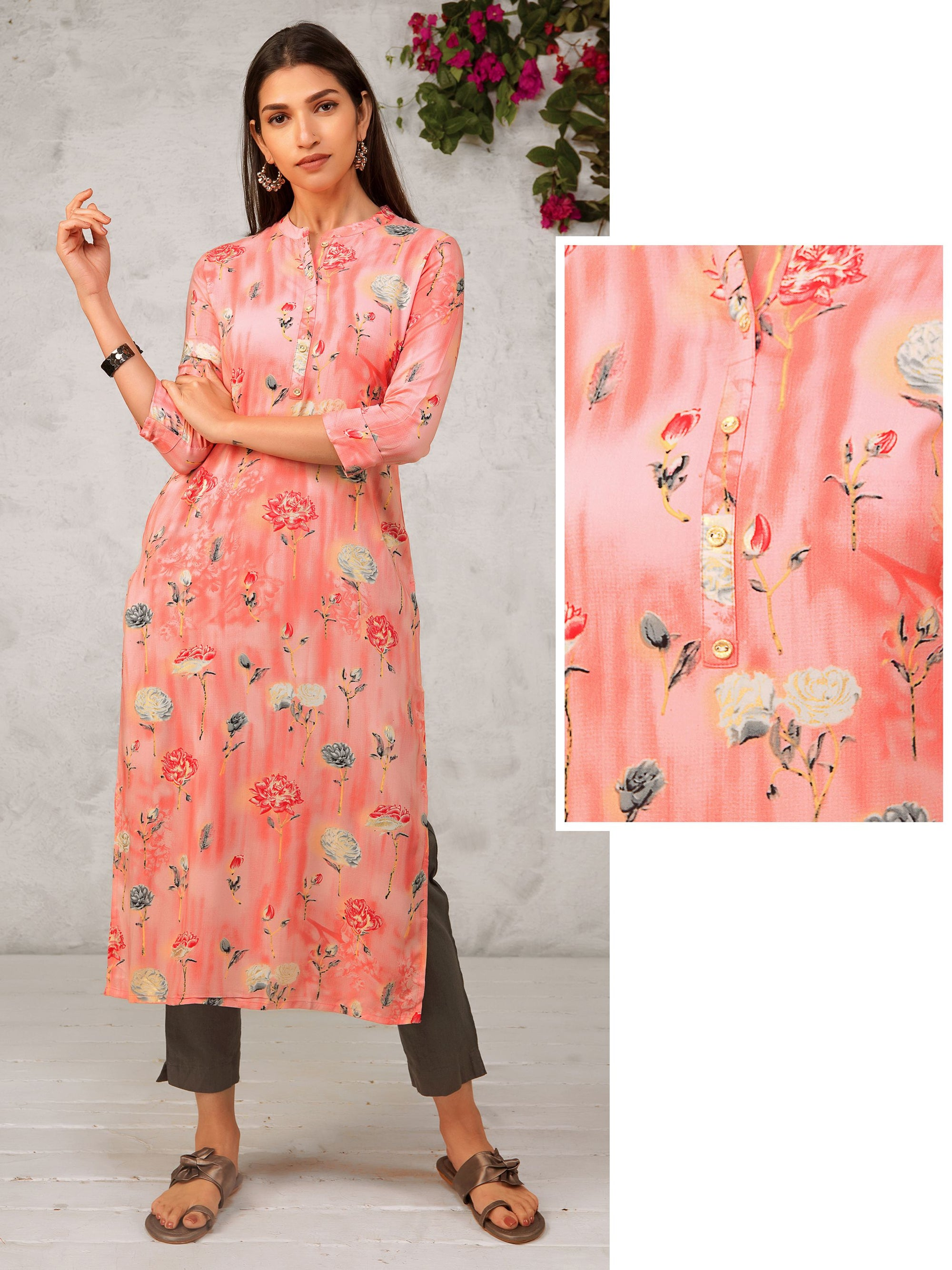 Floral Printed Shaded Cotton Kurti
