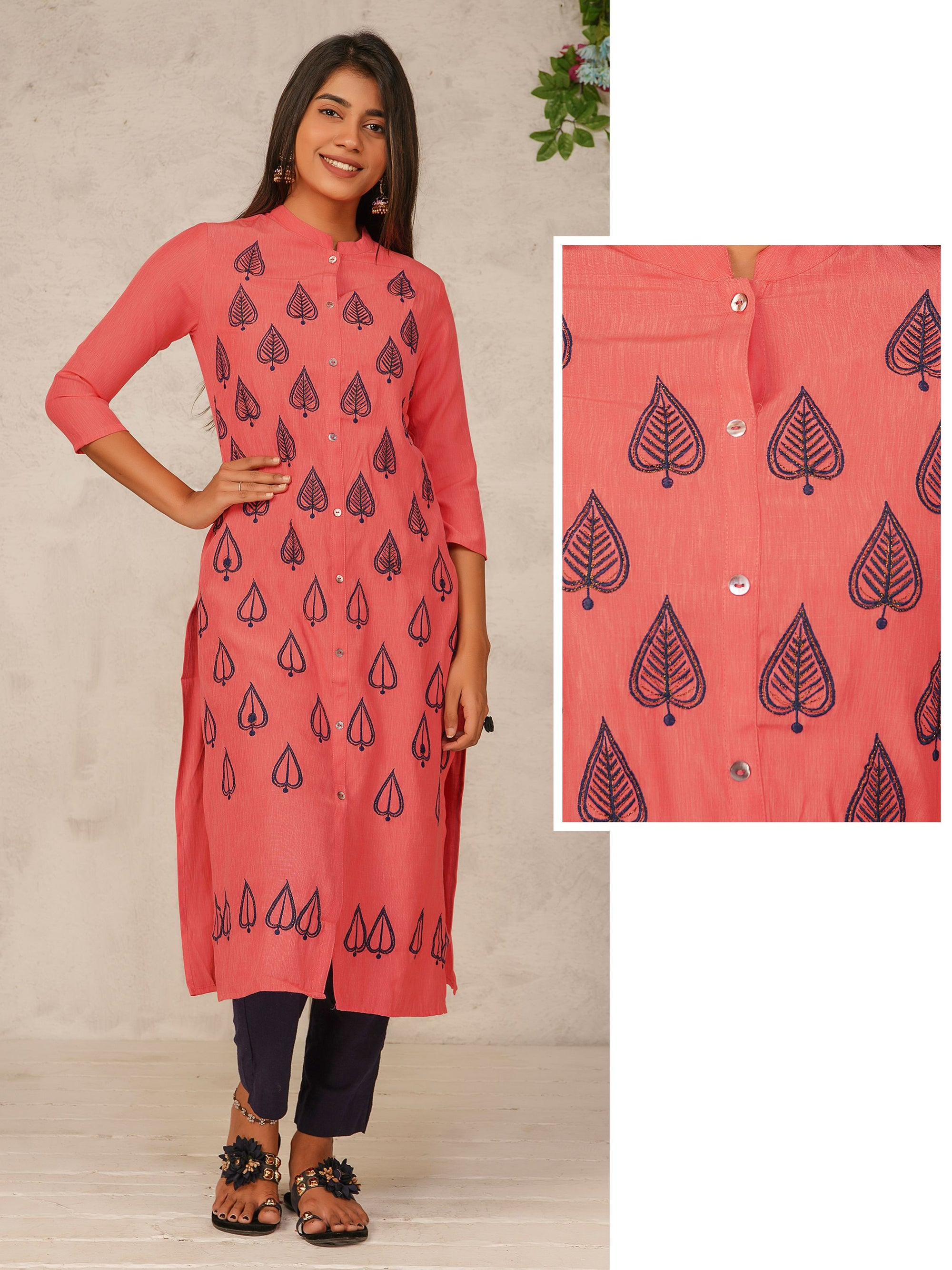 Leaf Embroidered Mother of Pearl Buttoned Kurti – Peach