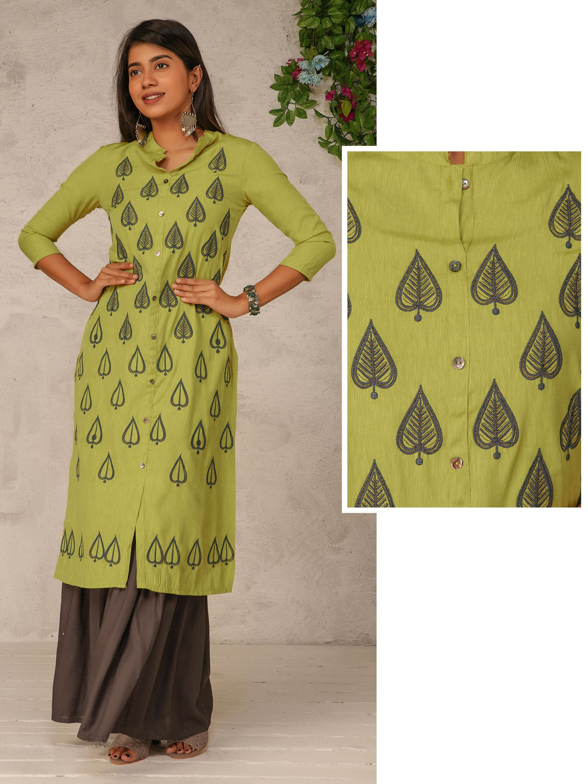 Leaf Embroidered Mother of Pearl Buttoned Kurti  – Lime Green