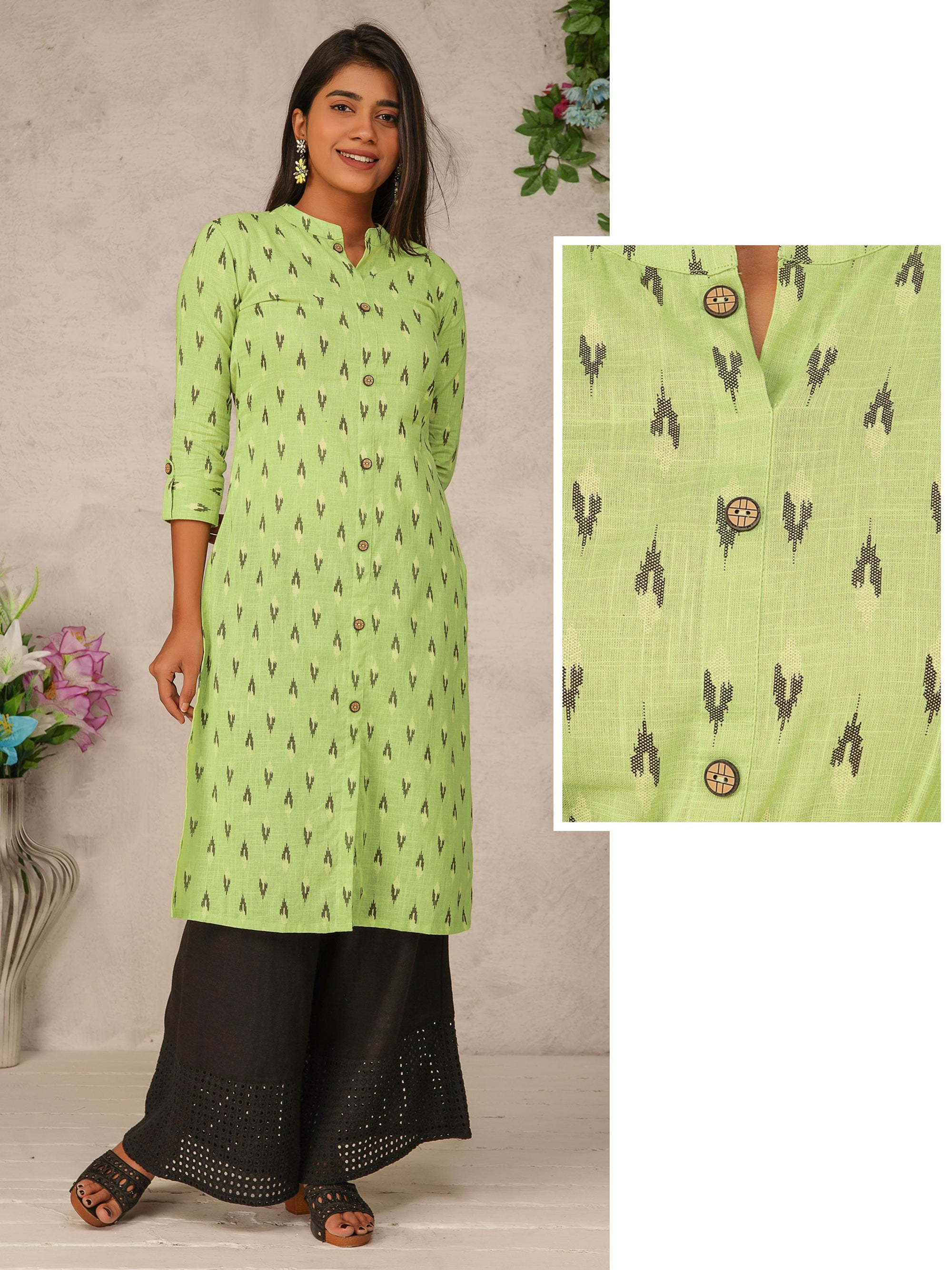 Ikkat Printed & Geometric Buttoned Cotton Kurti – Mint Green