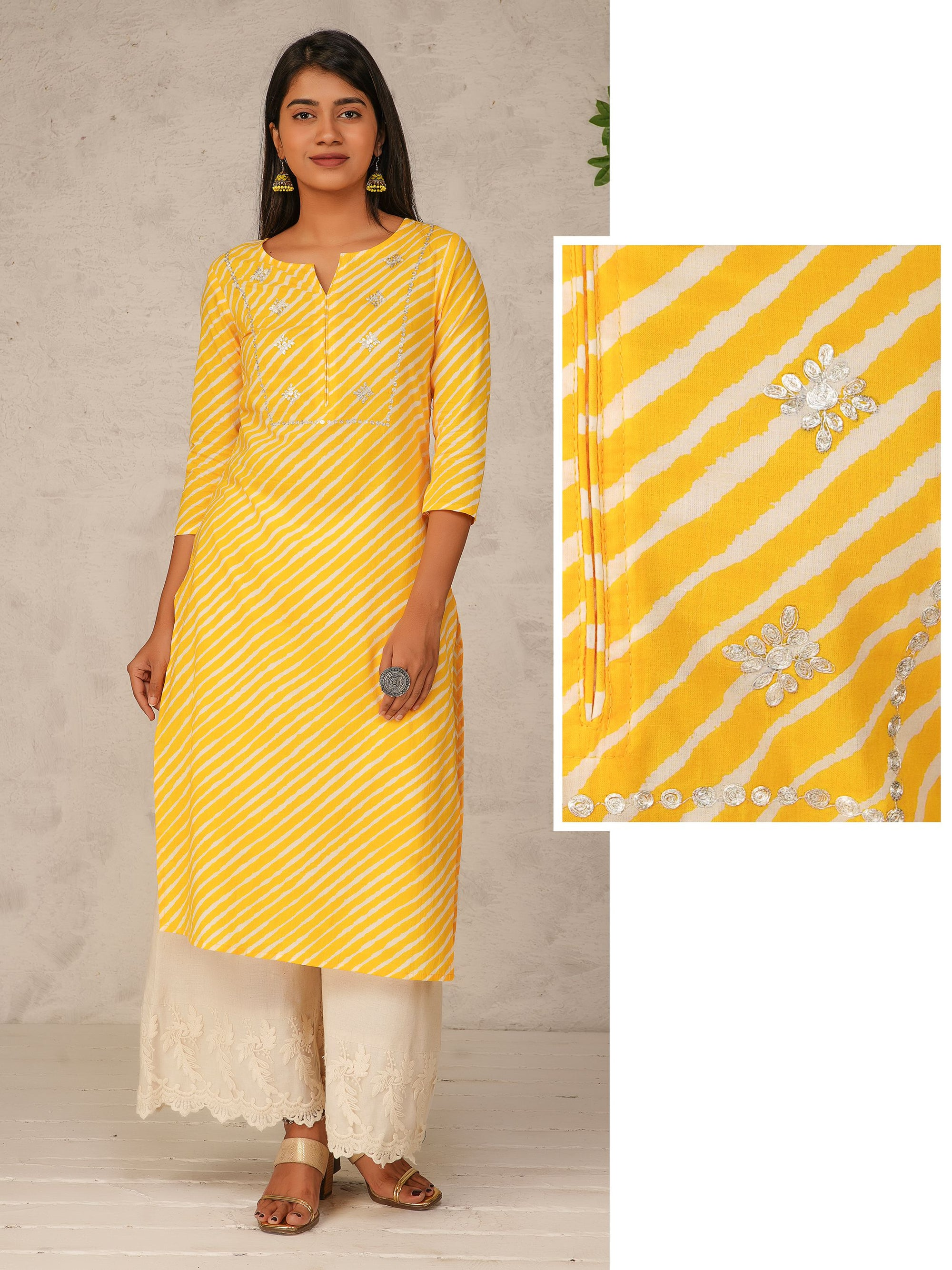 Lehariya Printed & Cord Embroidered Cotton Kurti – Yellow