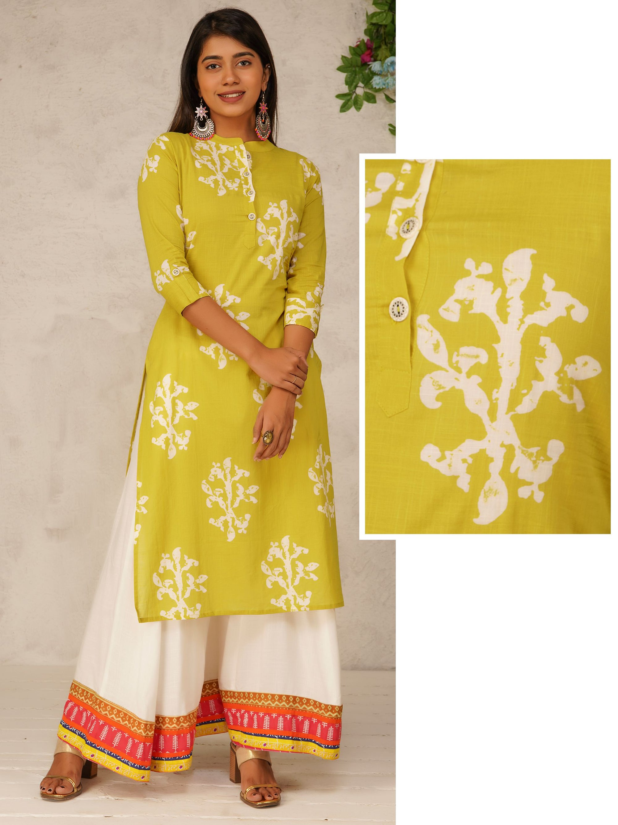 Floral Block Printed Cotton Kurti - Chartreuse Green