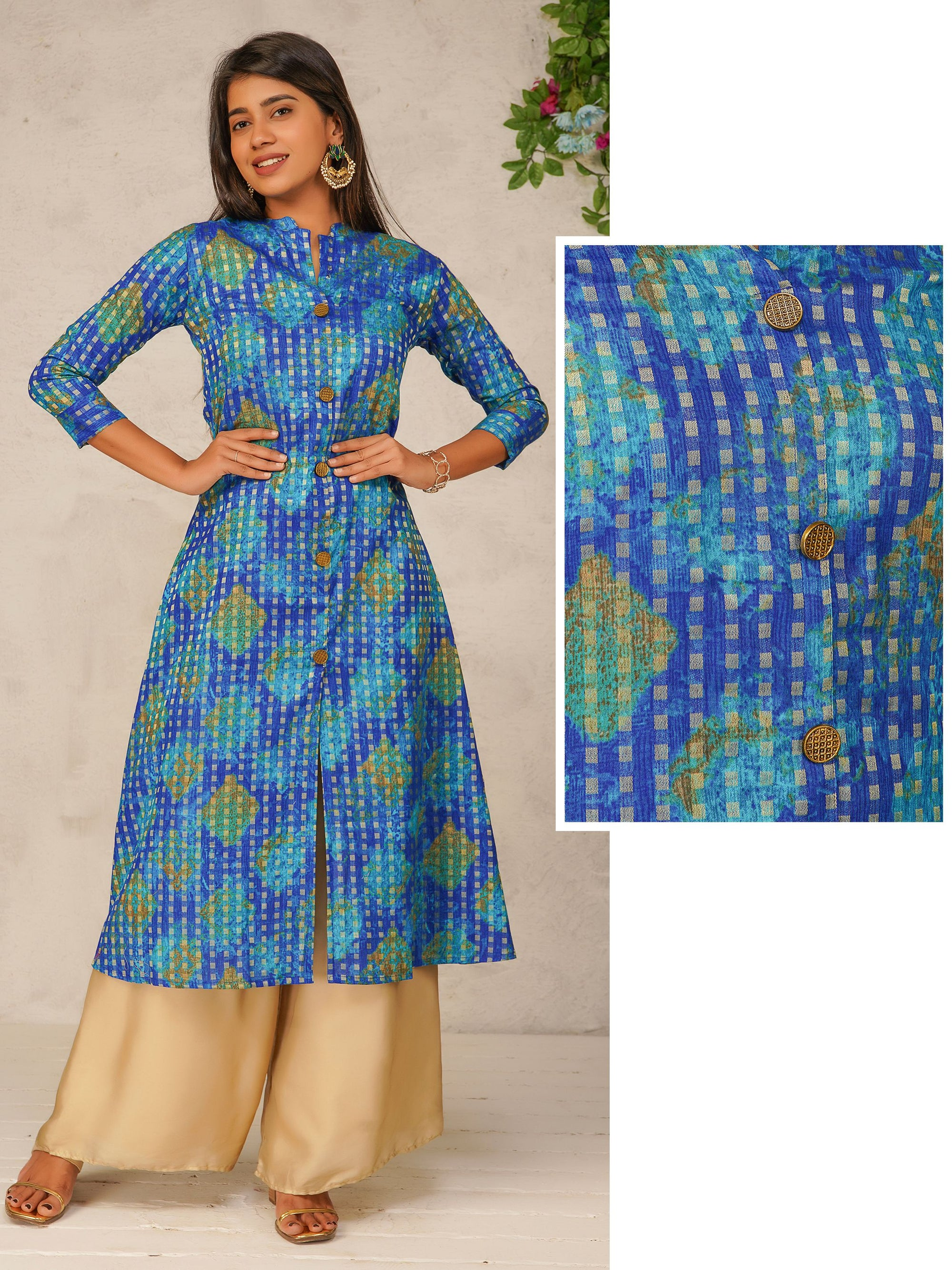Zari Checkered Front Slit Cotton Kurti - Royal Blue