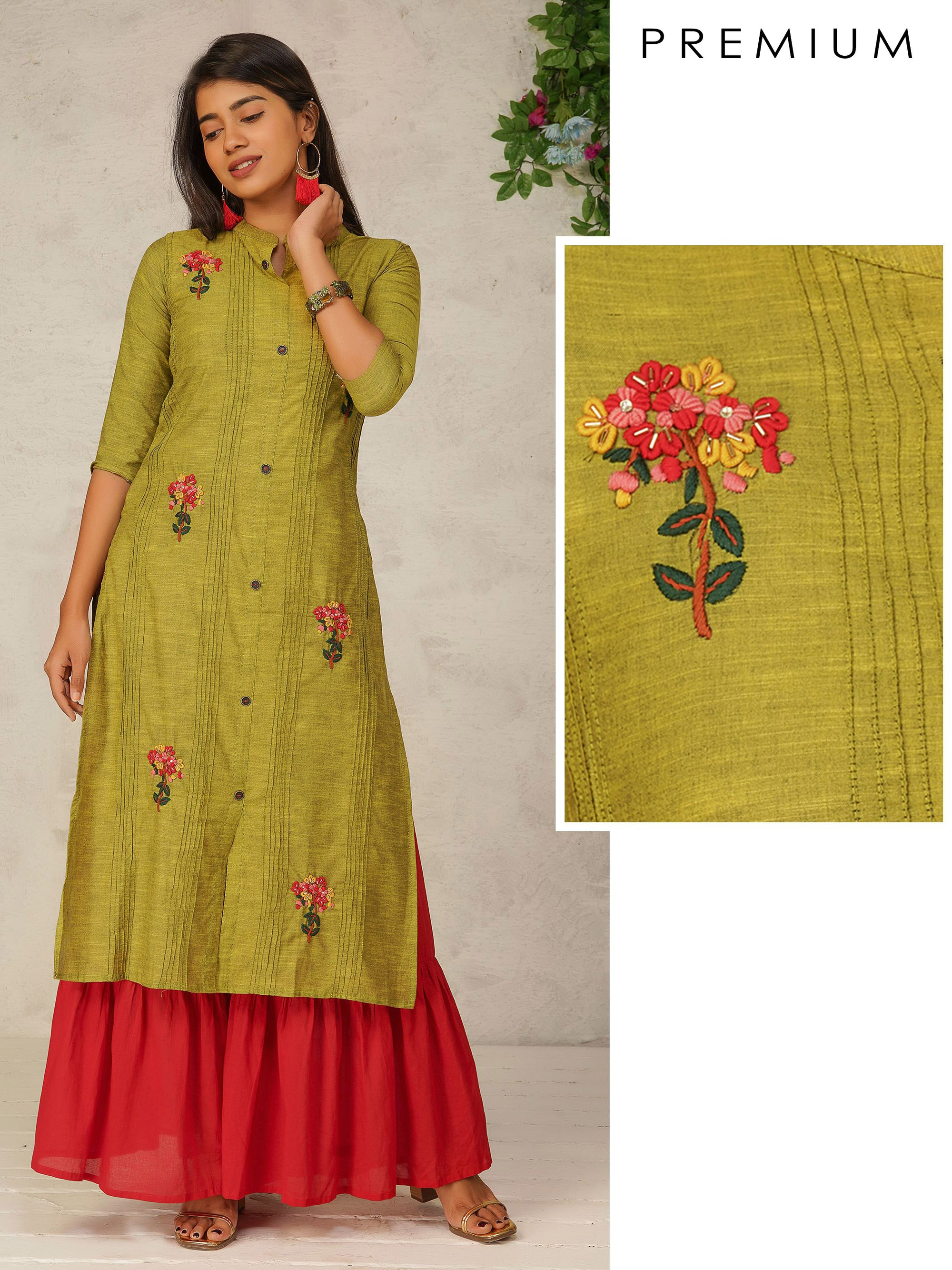 Bullion Knot Floral Embroidered Dual Toned Kurti - Chartreuse Green