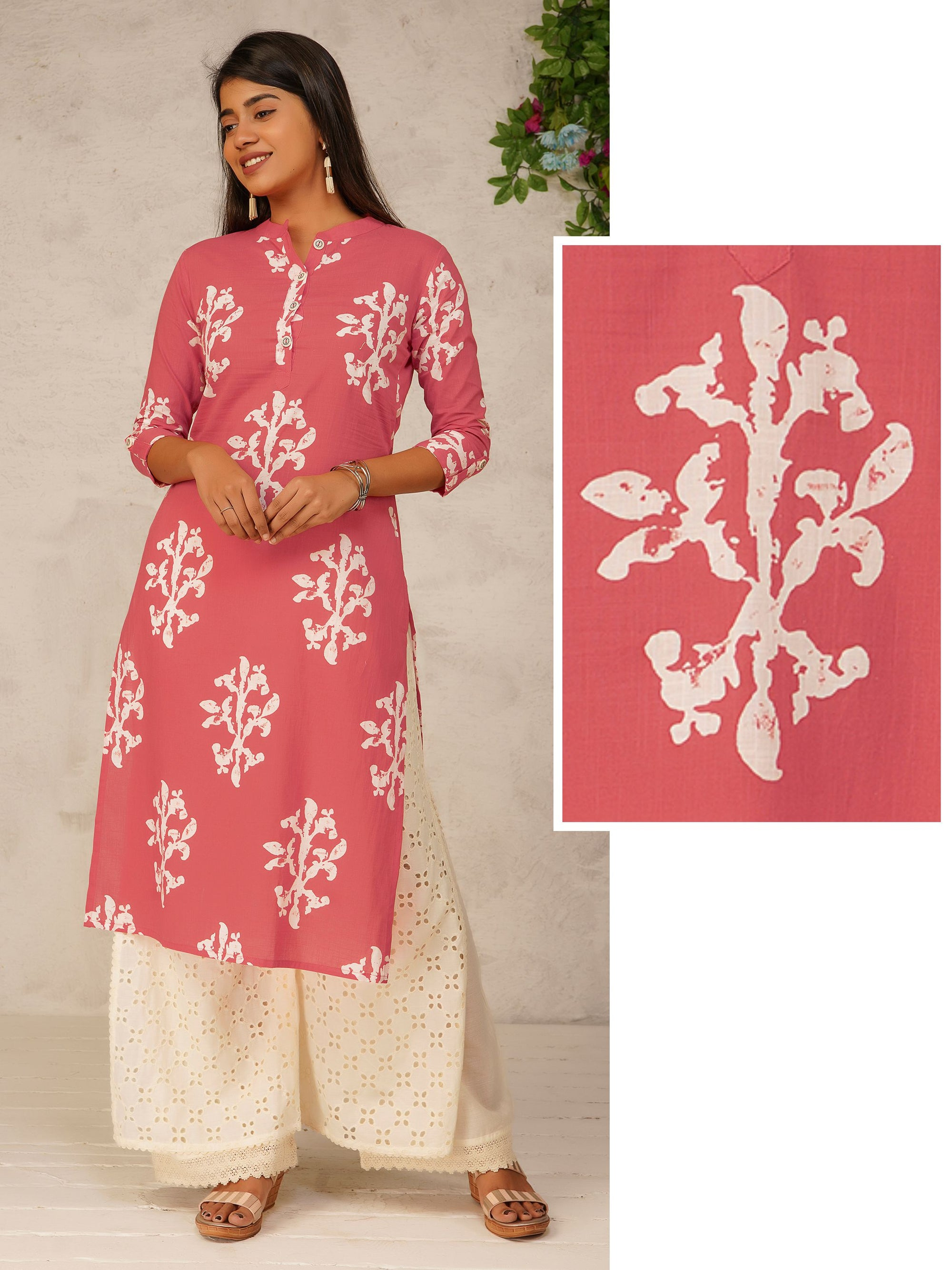 Floral Block Printed Cotton Kurti - Peach
