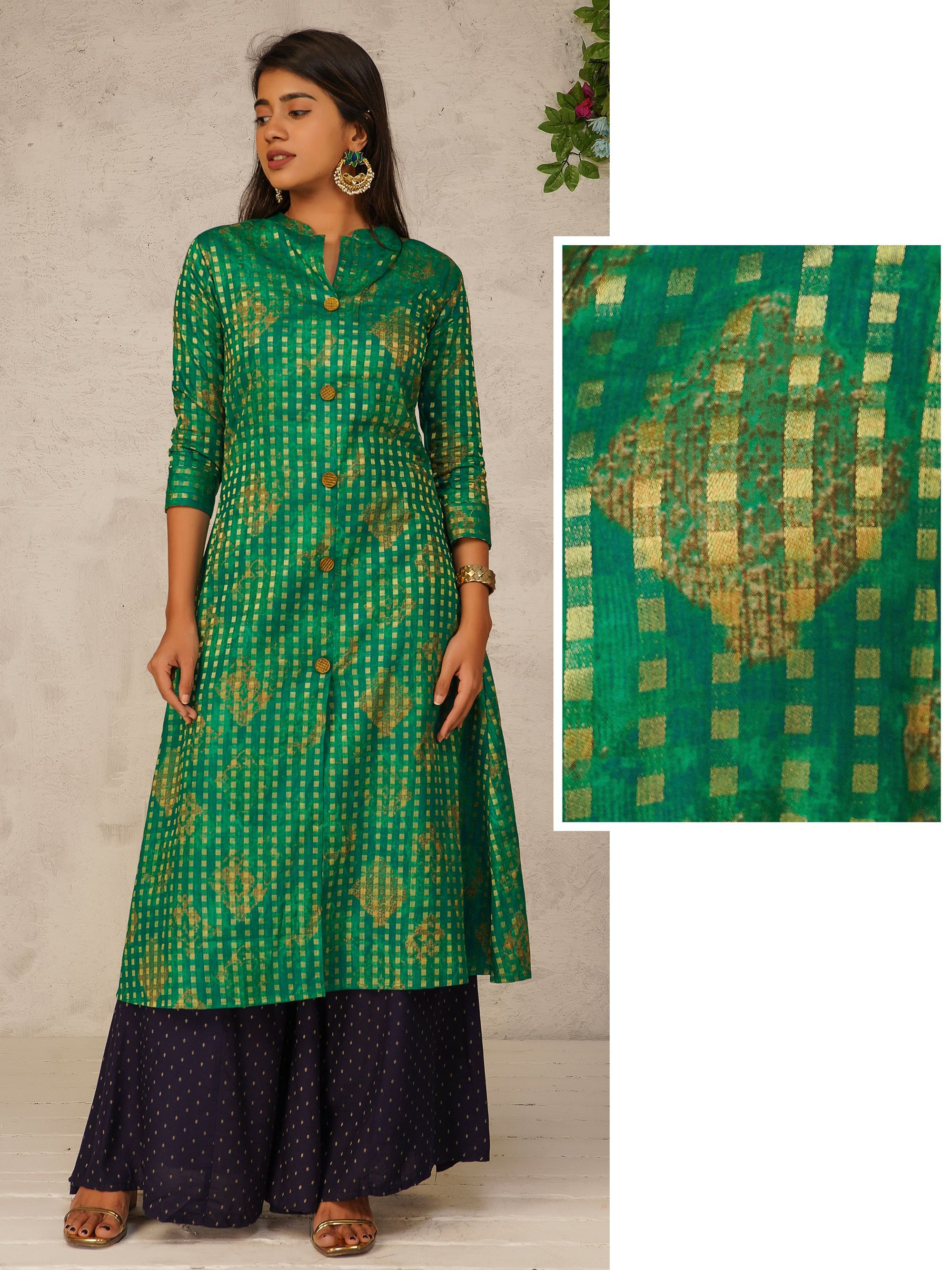 Zari Checkered Front Slit Cotton Kurti - Green