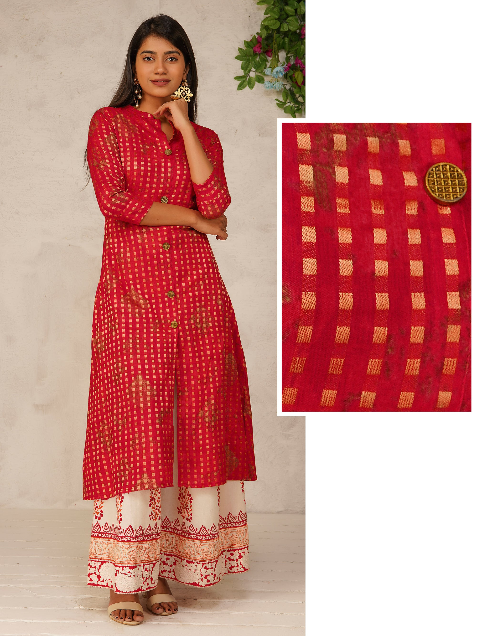 Zari Checkered Front Slit Cotton Kurti - Red