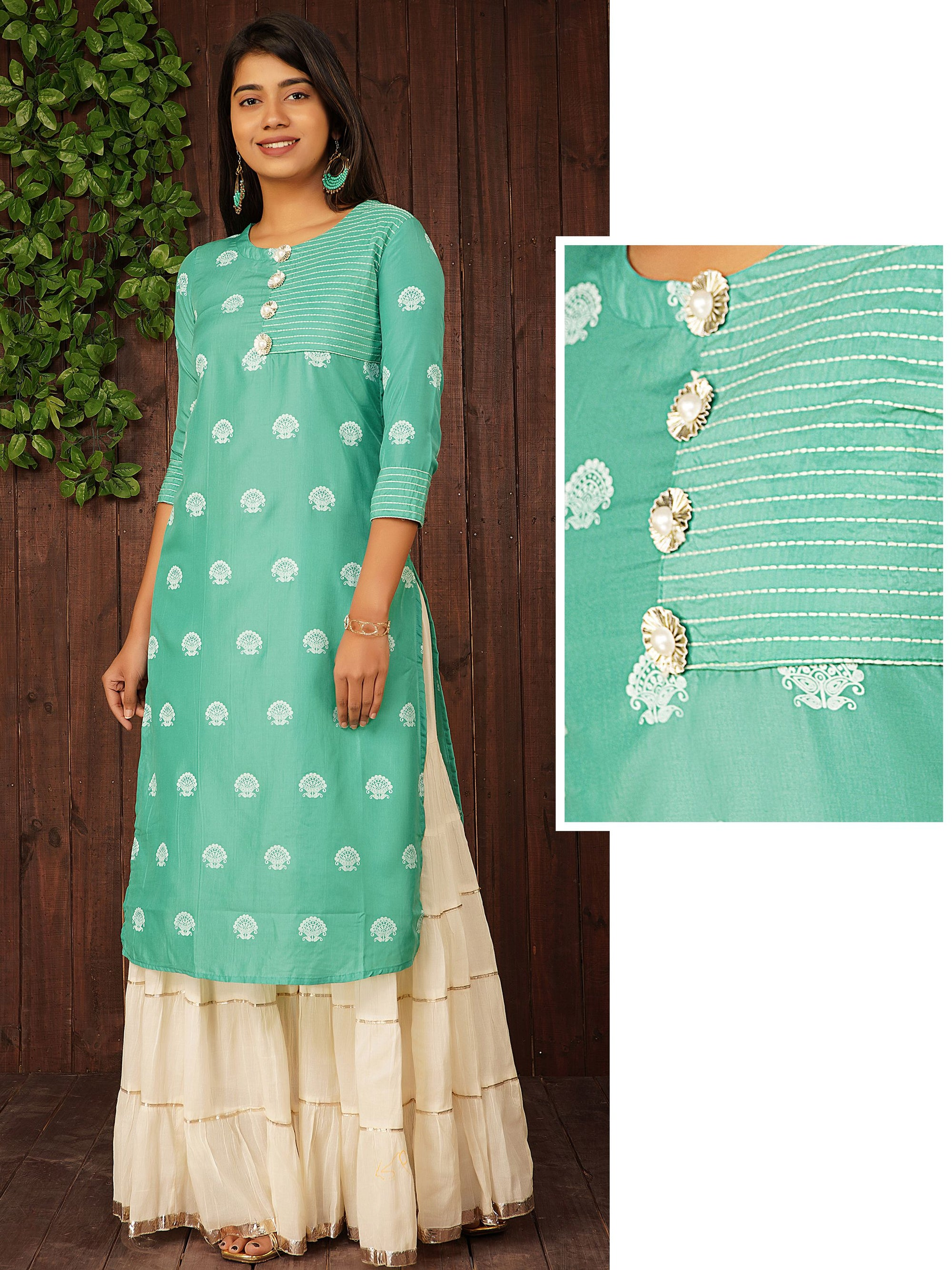 Floral Printed Gota Pearl Buttoned Kurti