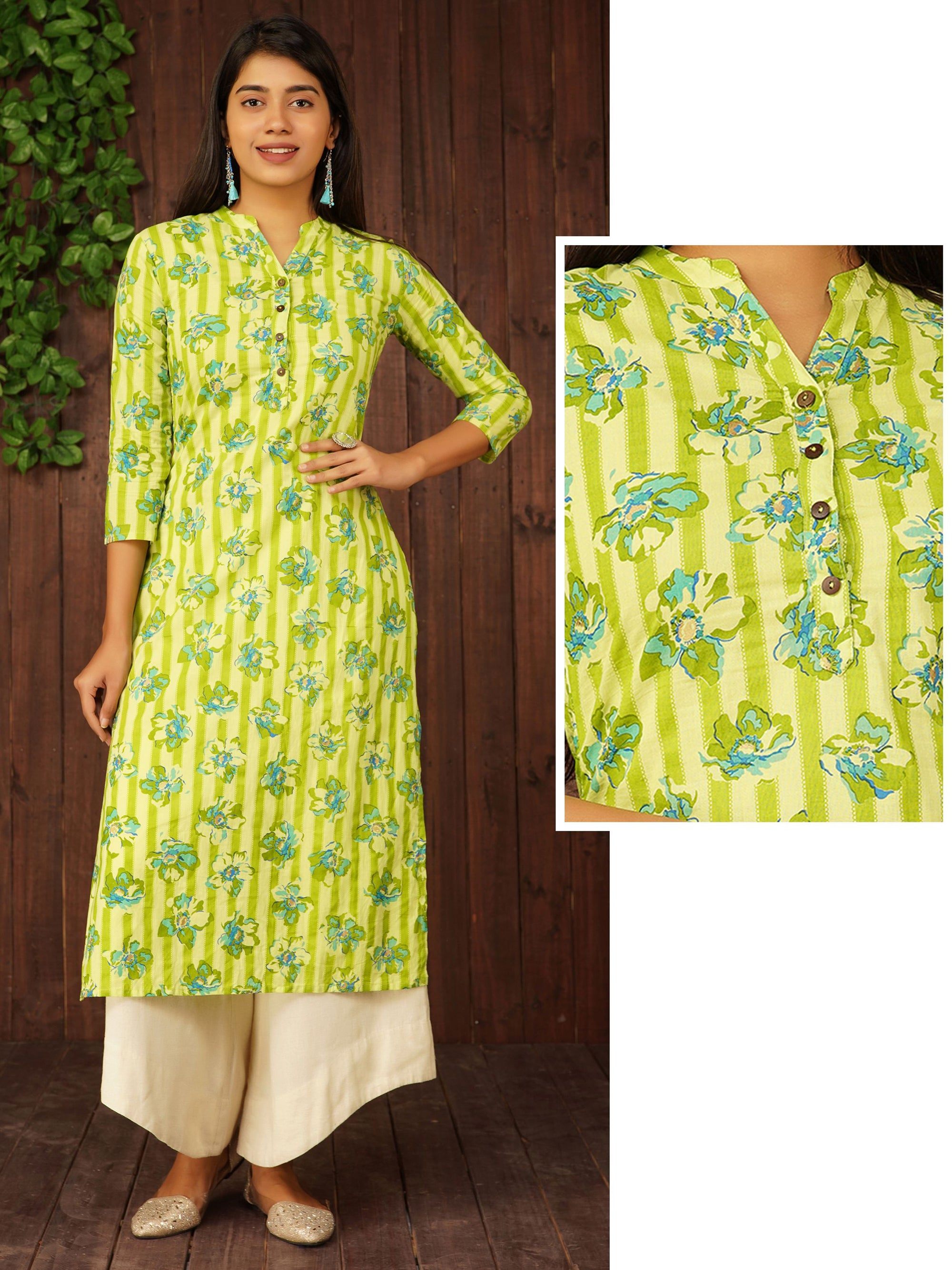 Cabana Striped & Floral Printed Kurti