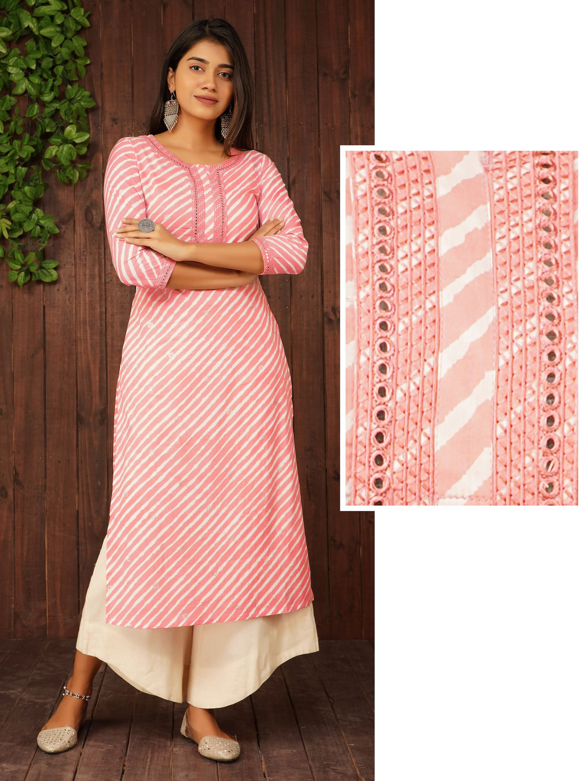 Lehariya Printed Mirror Worked Cotton Kurti – Hot Pink