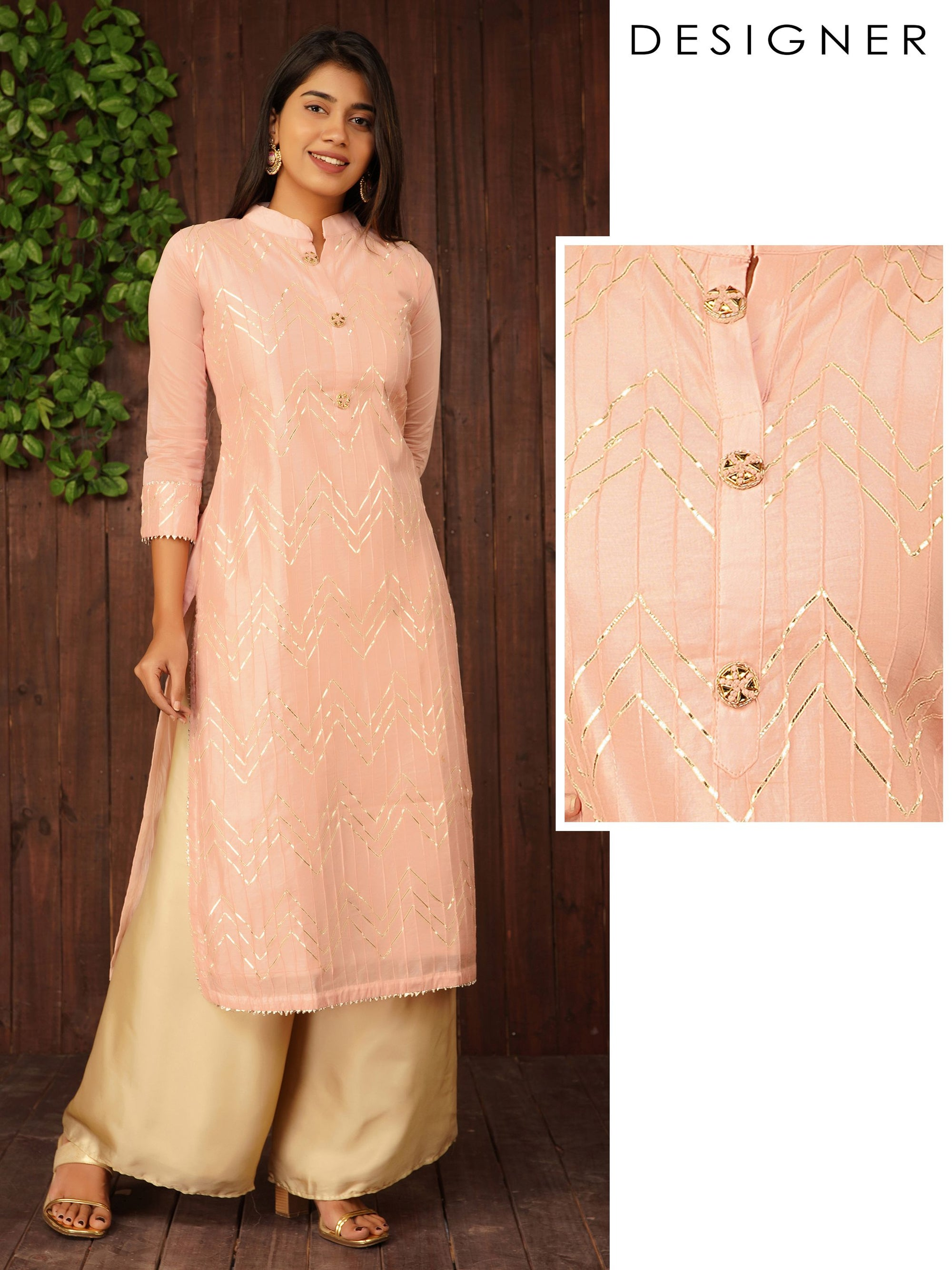 Chevron Gota & Pin Tucked Chanderi Kurti – Pale Peach