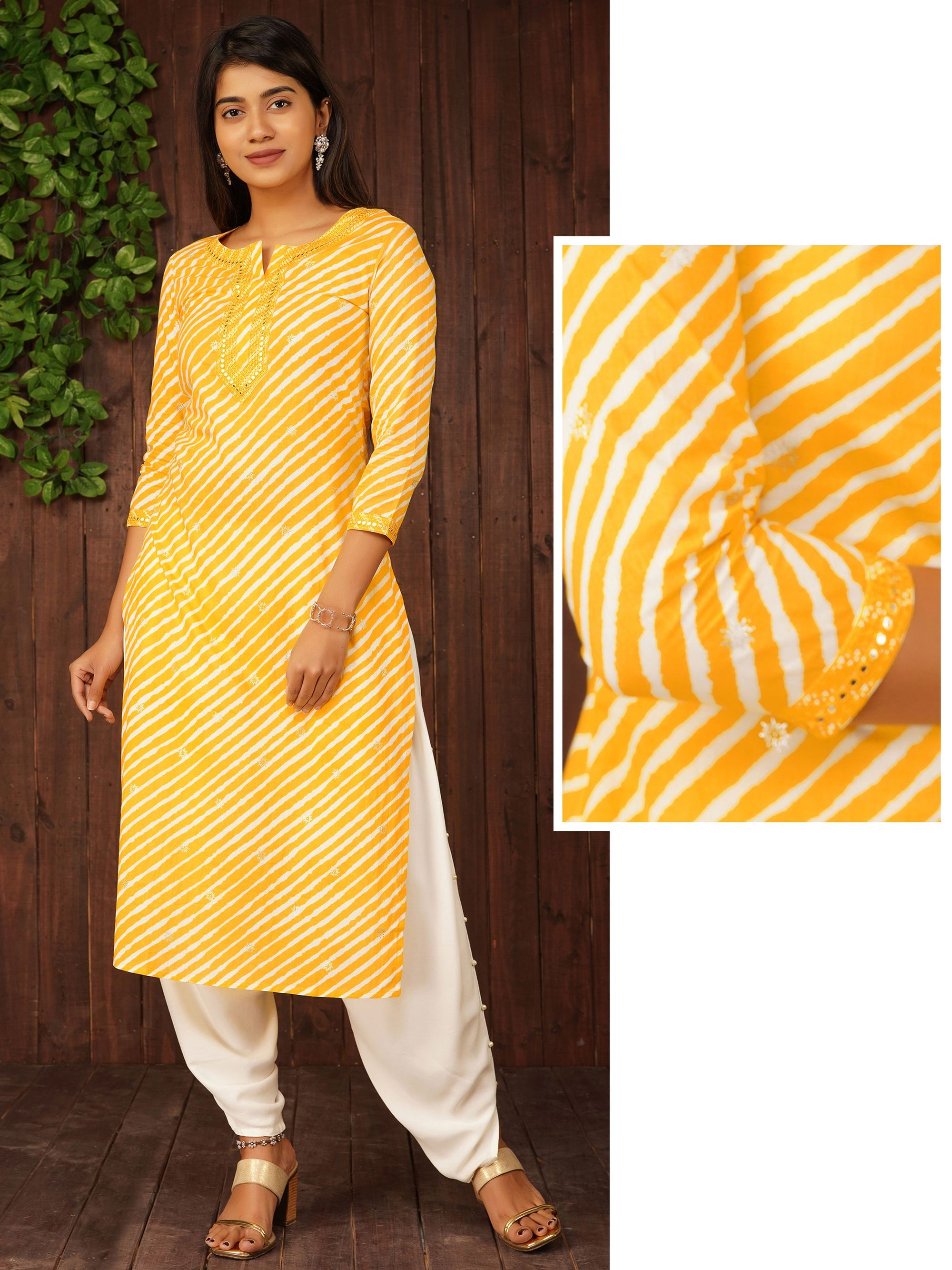 Lehariya Printed Mirror Worked Cotton Kurti - Yellow