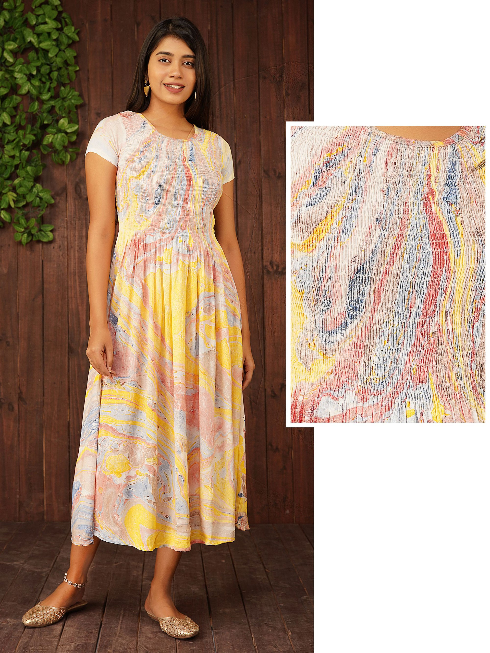 Splatter Printed Crushed Maxi – Lemon Yellow
