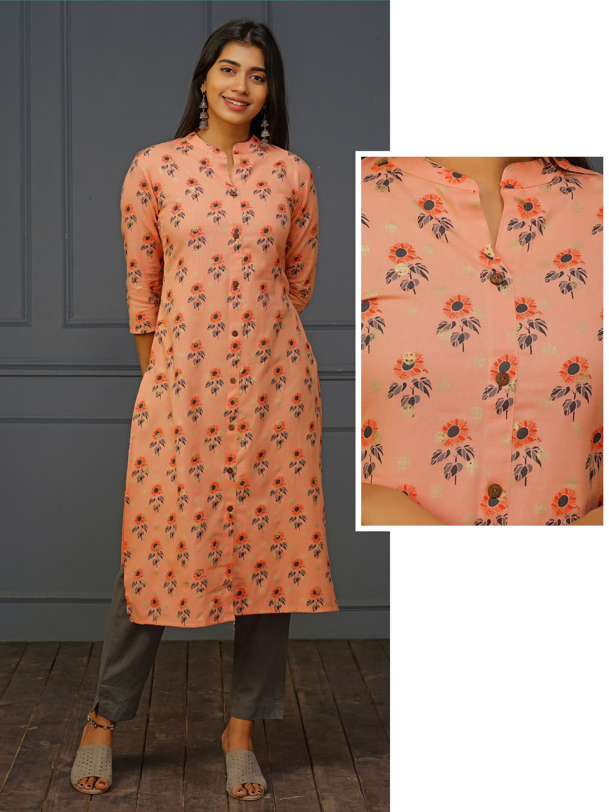Sunflower & Foil Printed Cotton Kurti
