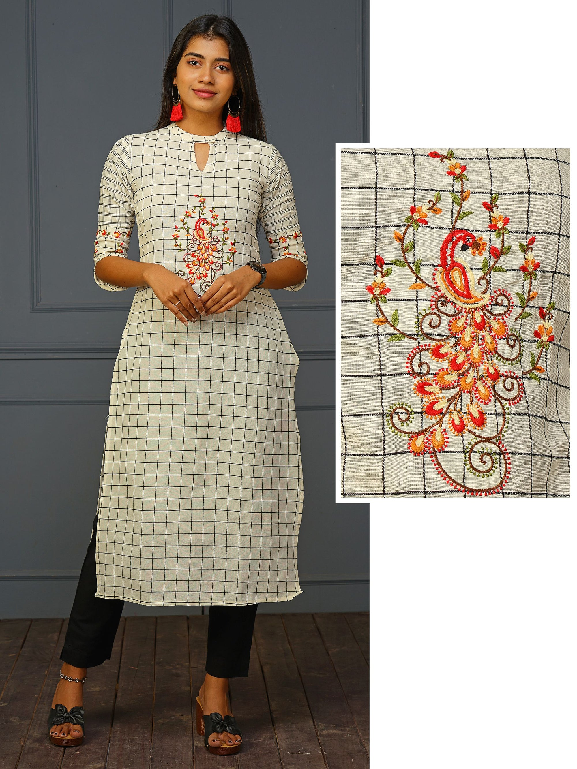 Cross Stitch Floral Embroidered Checkered Kurti