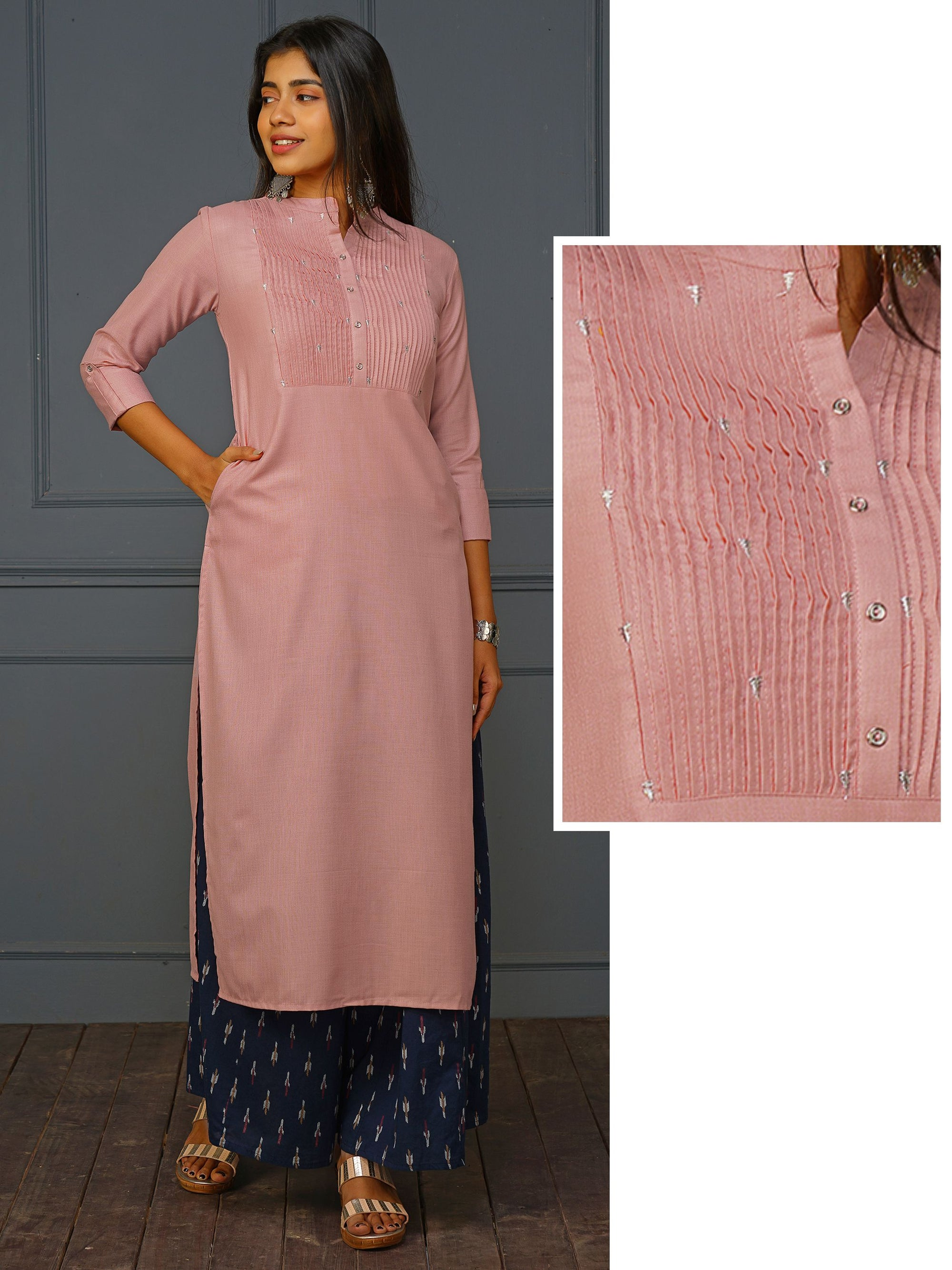 Minimal Quirky Embroidered Pin Tuck Kurti - Dusty Pink