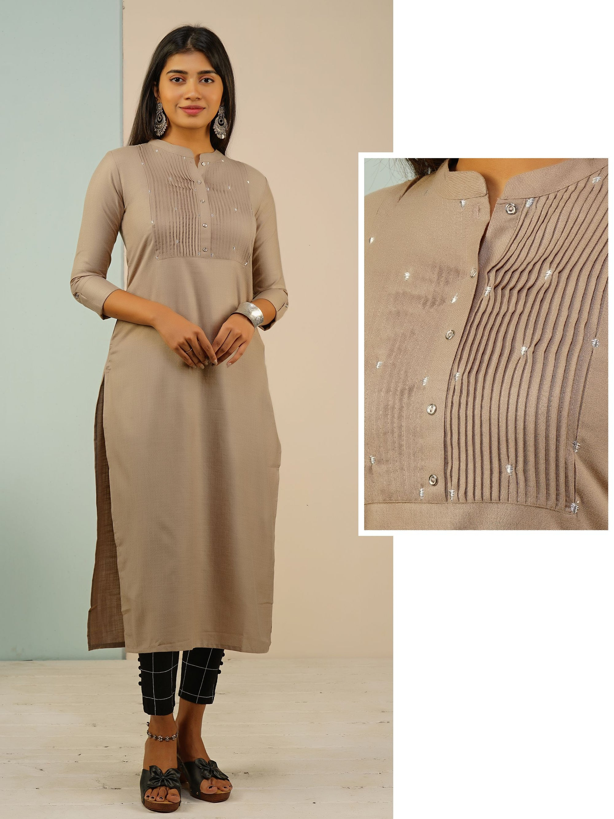 Minimal Quirky Embroidered Pin Tuck Kurti - Pale Brown