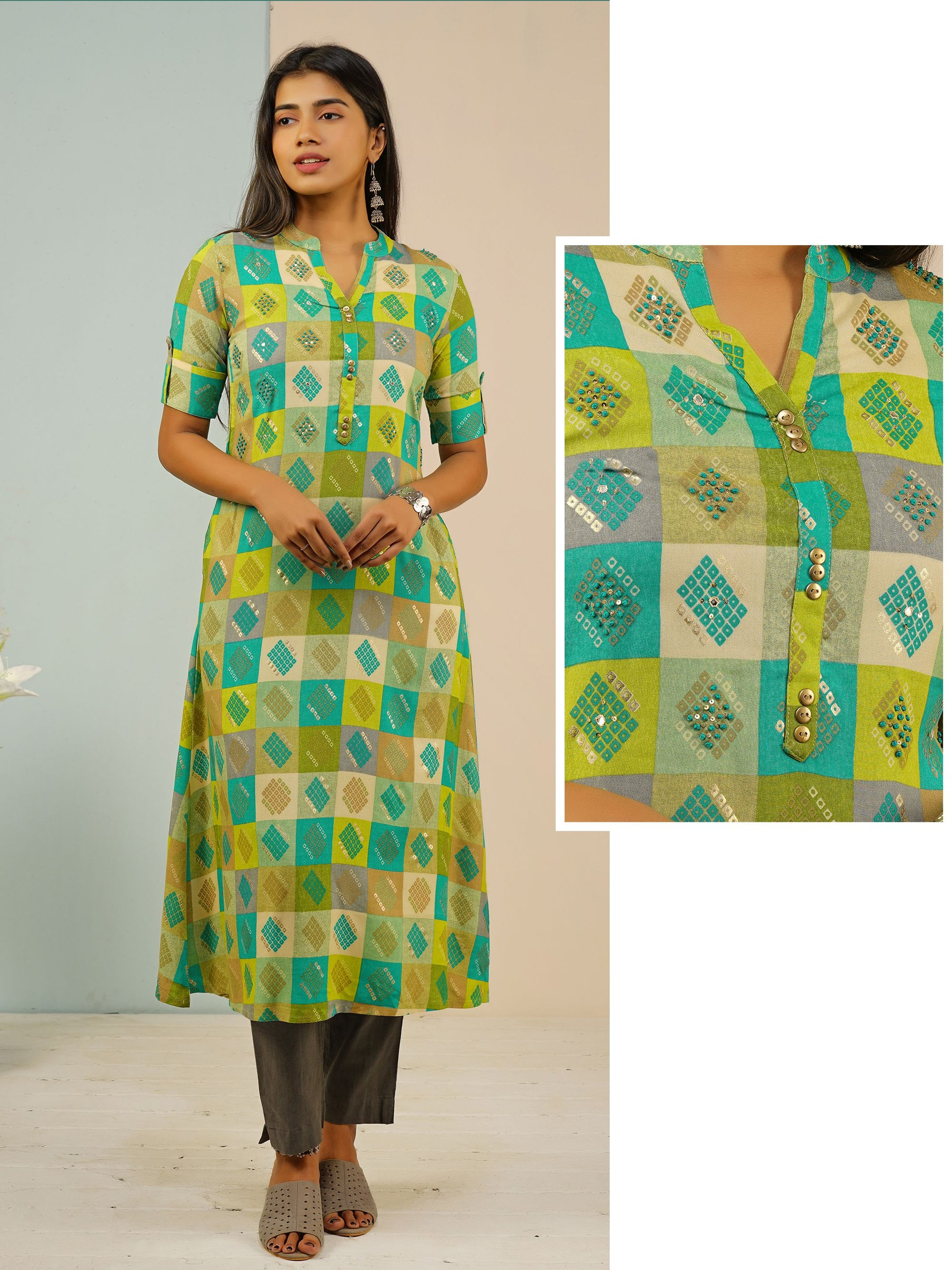 Checkered Printed Kurta With Foil Mirror Work With Sequins - Greeen
