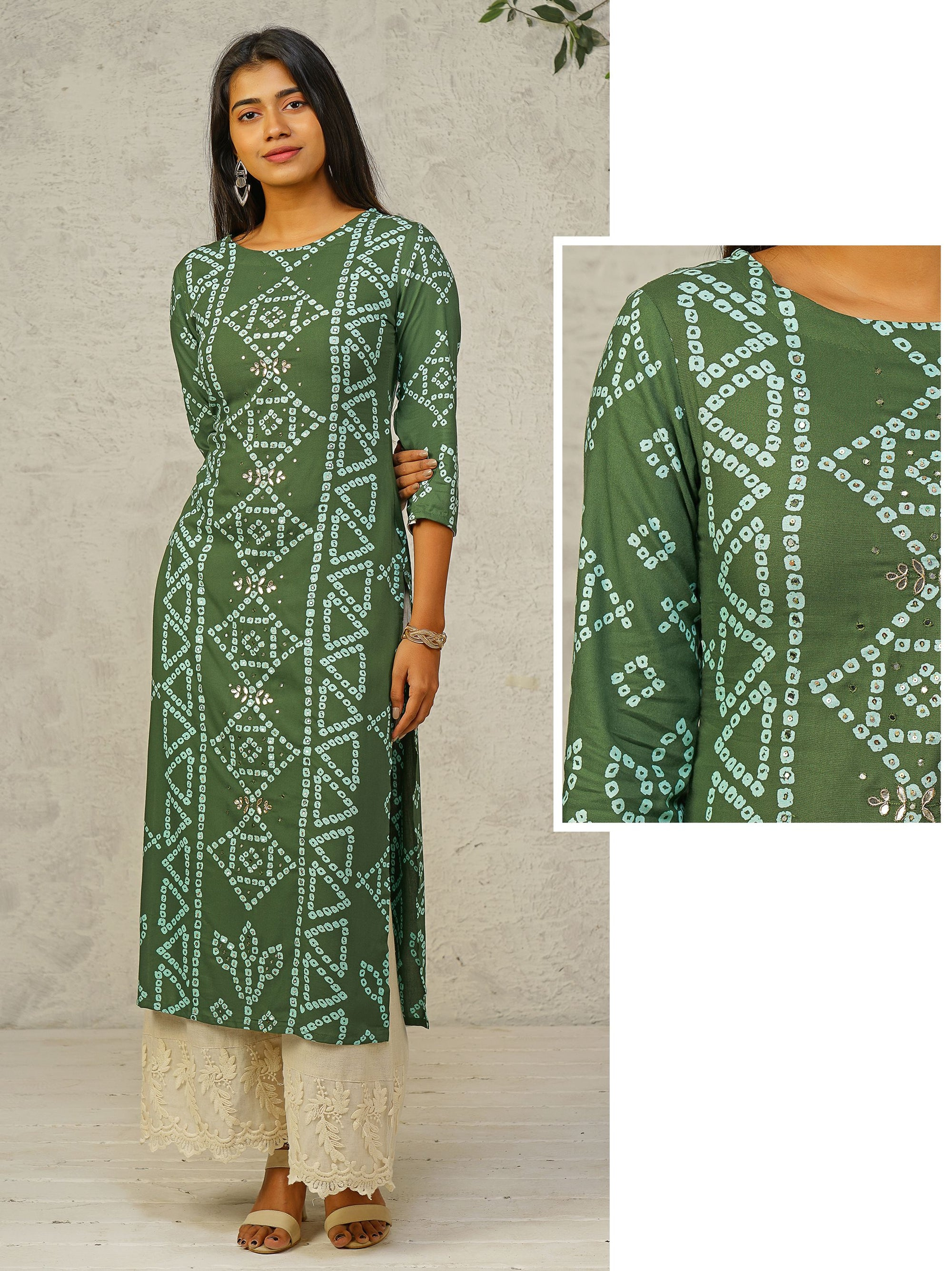 Bandhani Printed Gota Patti Worked Rayon Kurti – Juniper Green