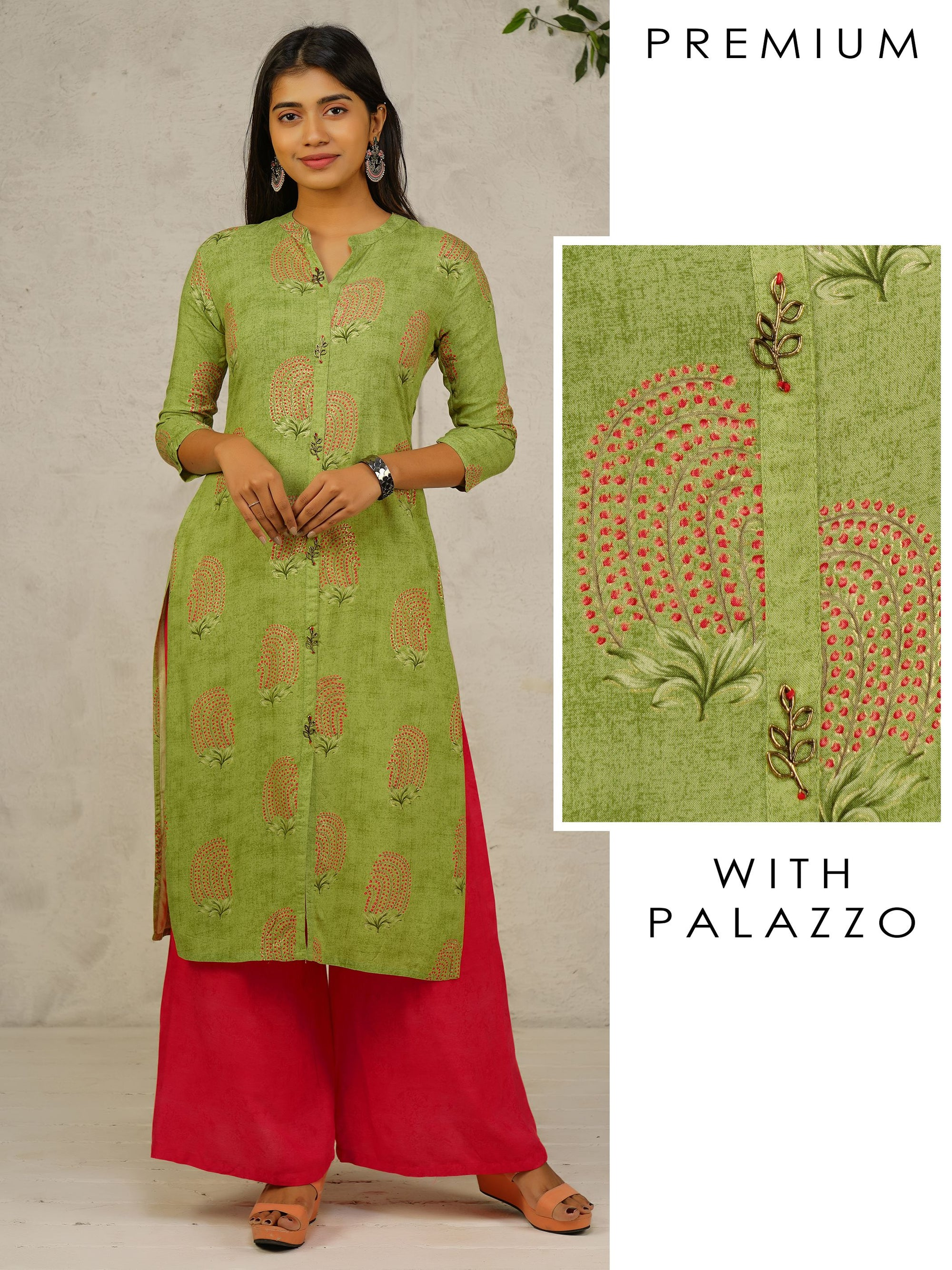 Tiny Floral Printed Kurti & Self Printed Palazzo Set