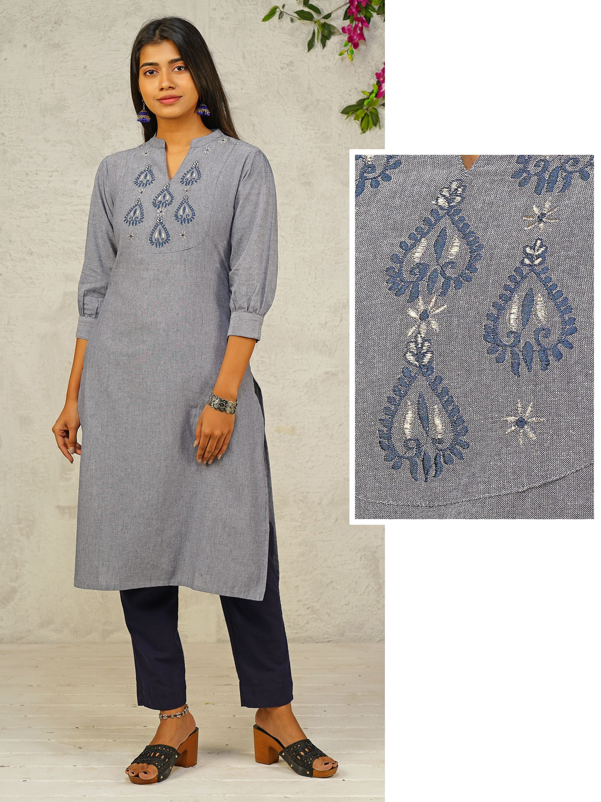 Spade & Zari Floral Embroidered Dual Toned Kurti - Blue
