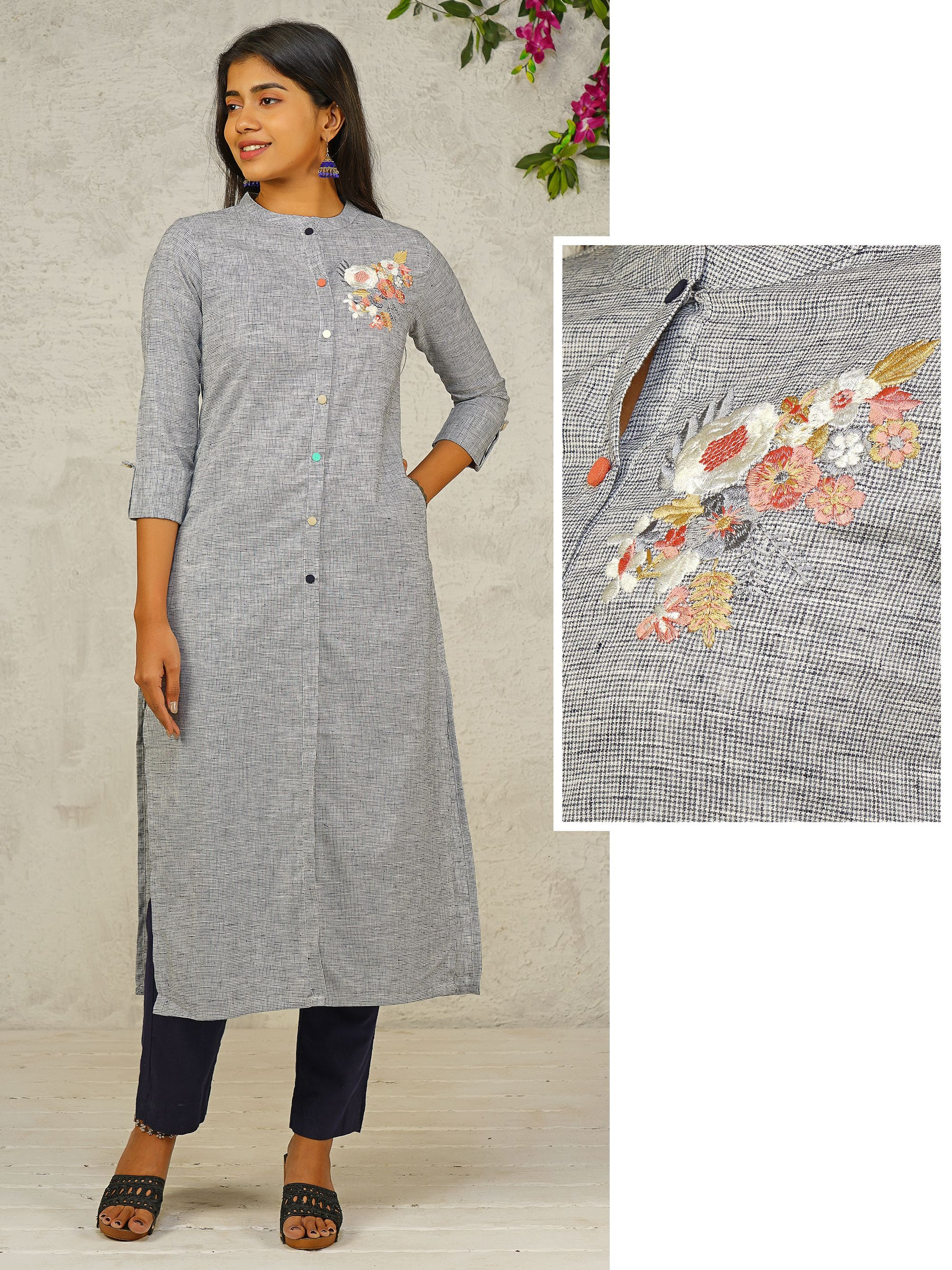 Glen Checkered & Machine Embroidered Cotton Kurti