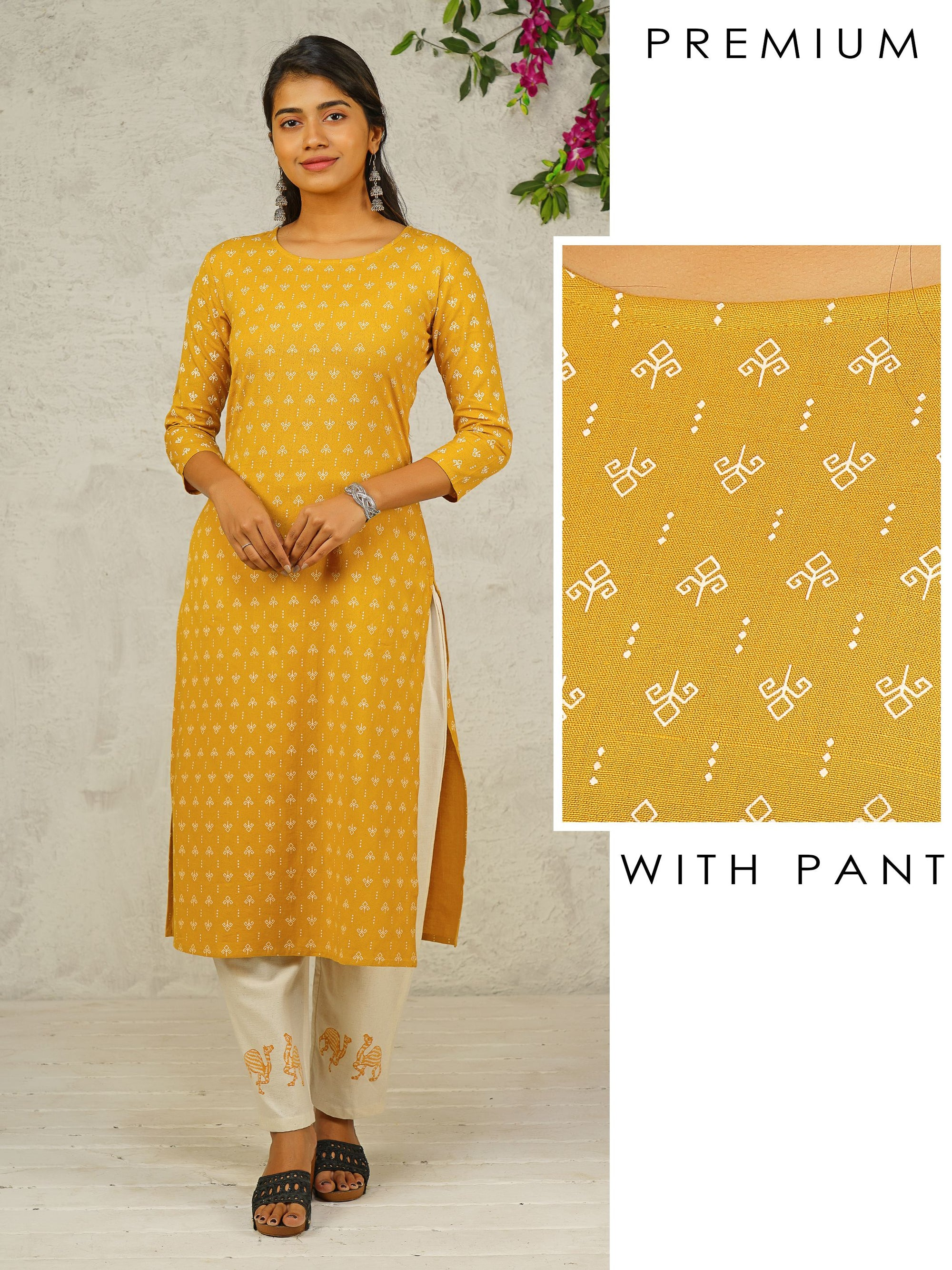Diamond Printed Cotton Kurti & Parallel Pant Set