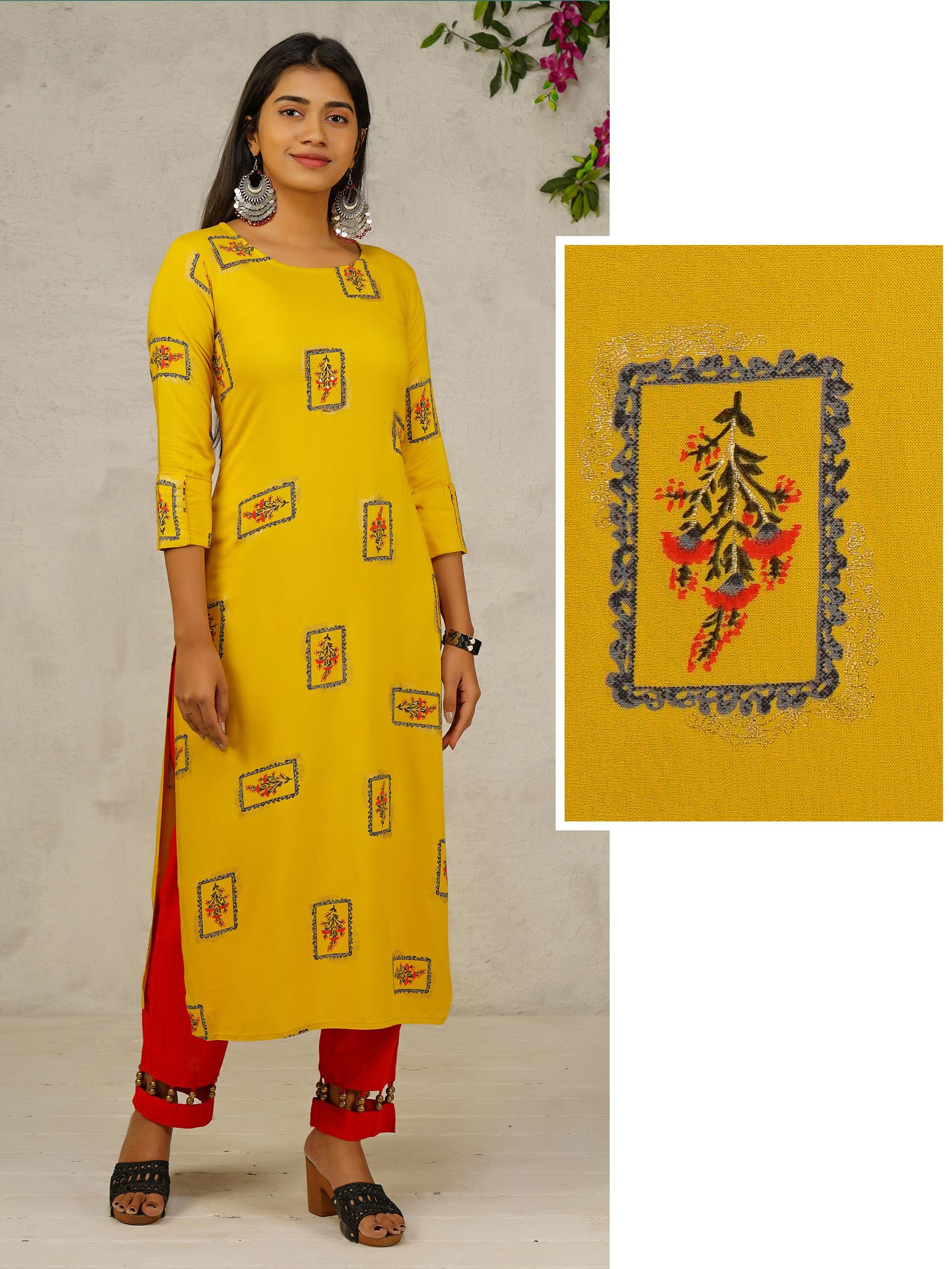 Bead Worked & Floral Printed Rayon Kurti - Yellow