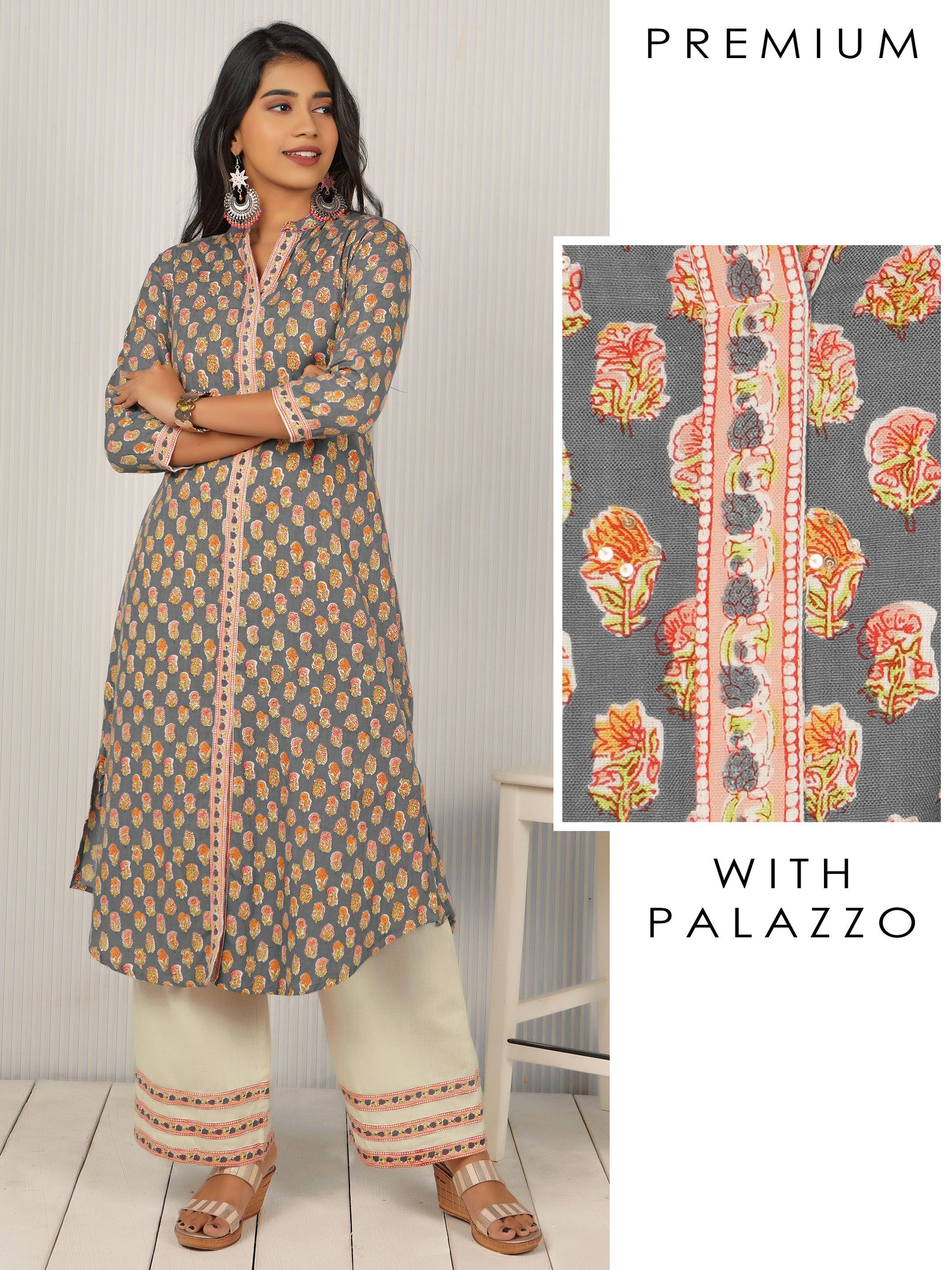 Floral Printed, Sequin Worked Kurti & Solid Palazzo Set