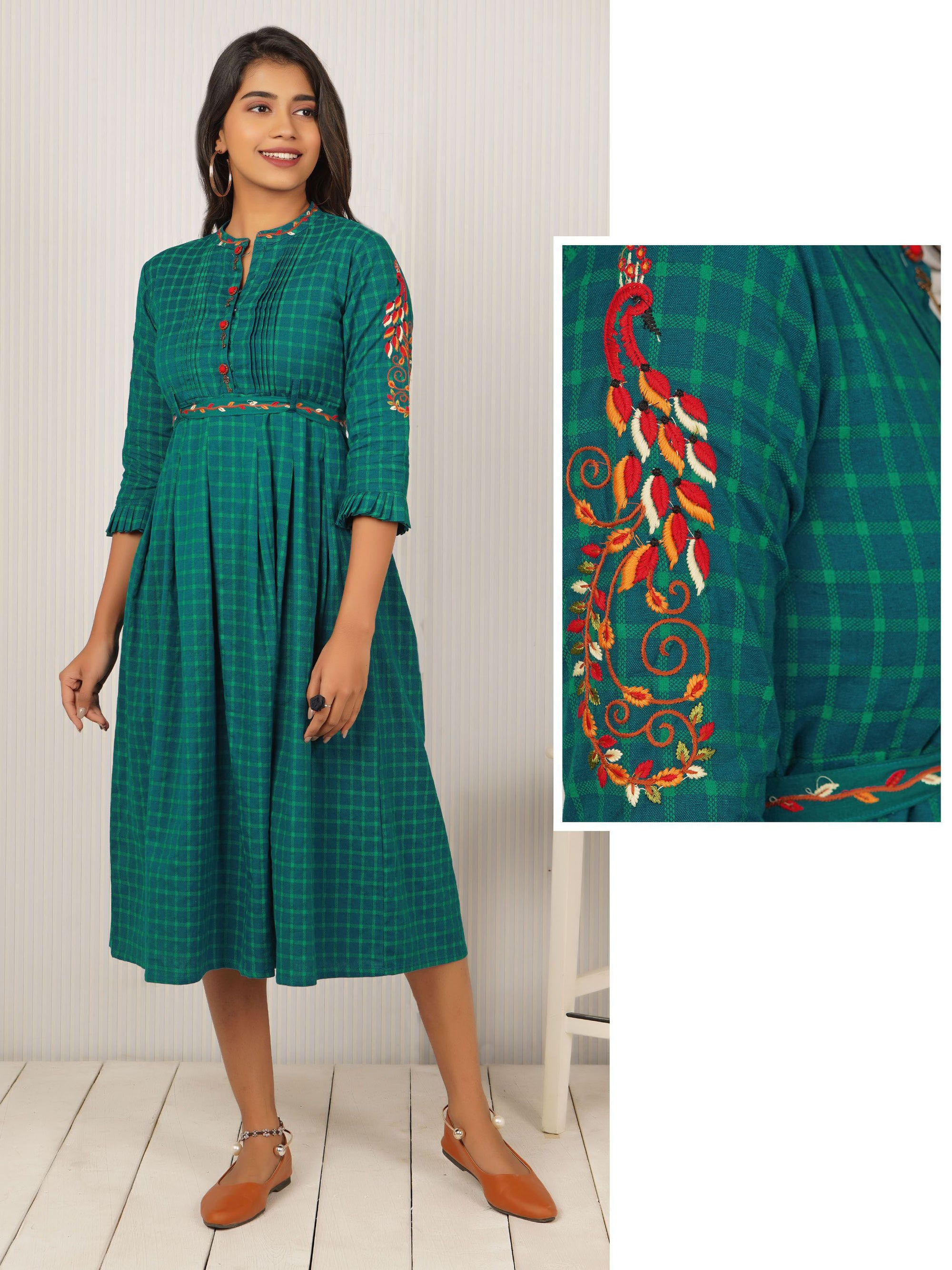 Vintage Key Buttoned & Checkered Maxi with Belt -  Turquoise Green