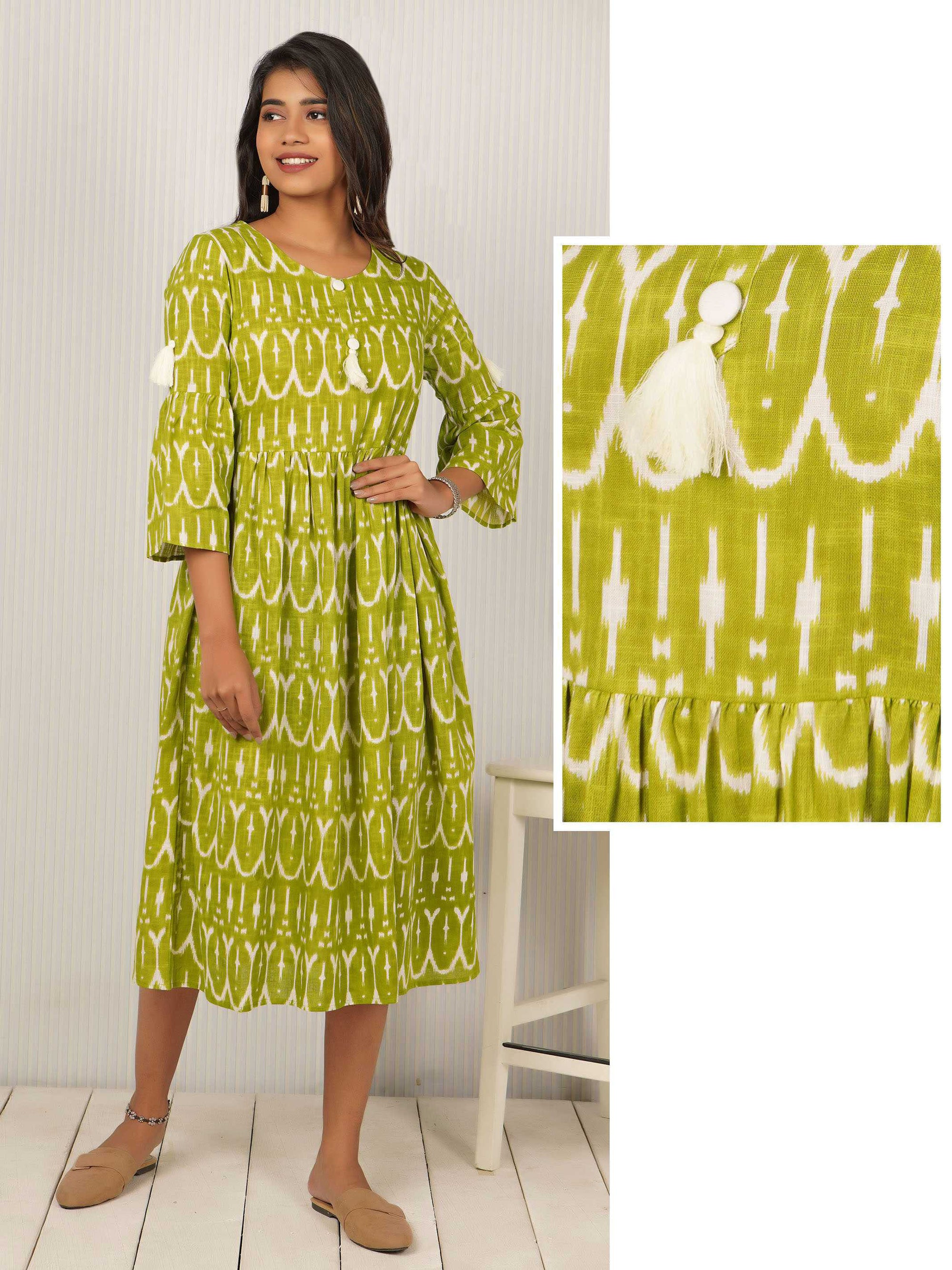 Ikkat Printed & Tasseled Cotton Maxi - Kelly Green