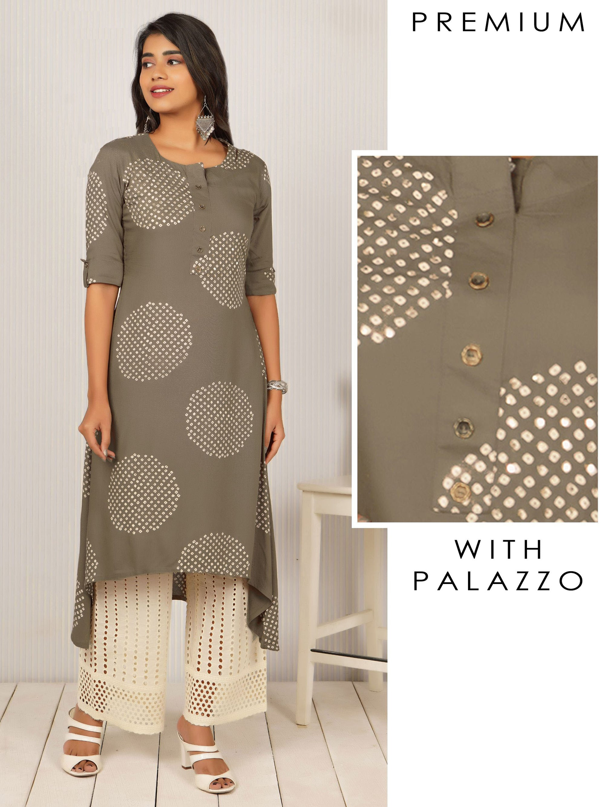 Bandhani Printed Asymmetric Kurti & Cutwork Palazzo Set - Grey