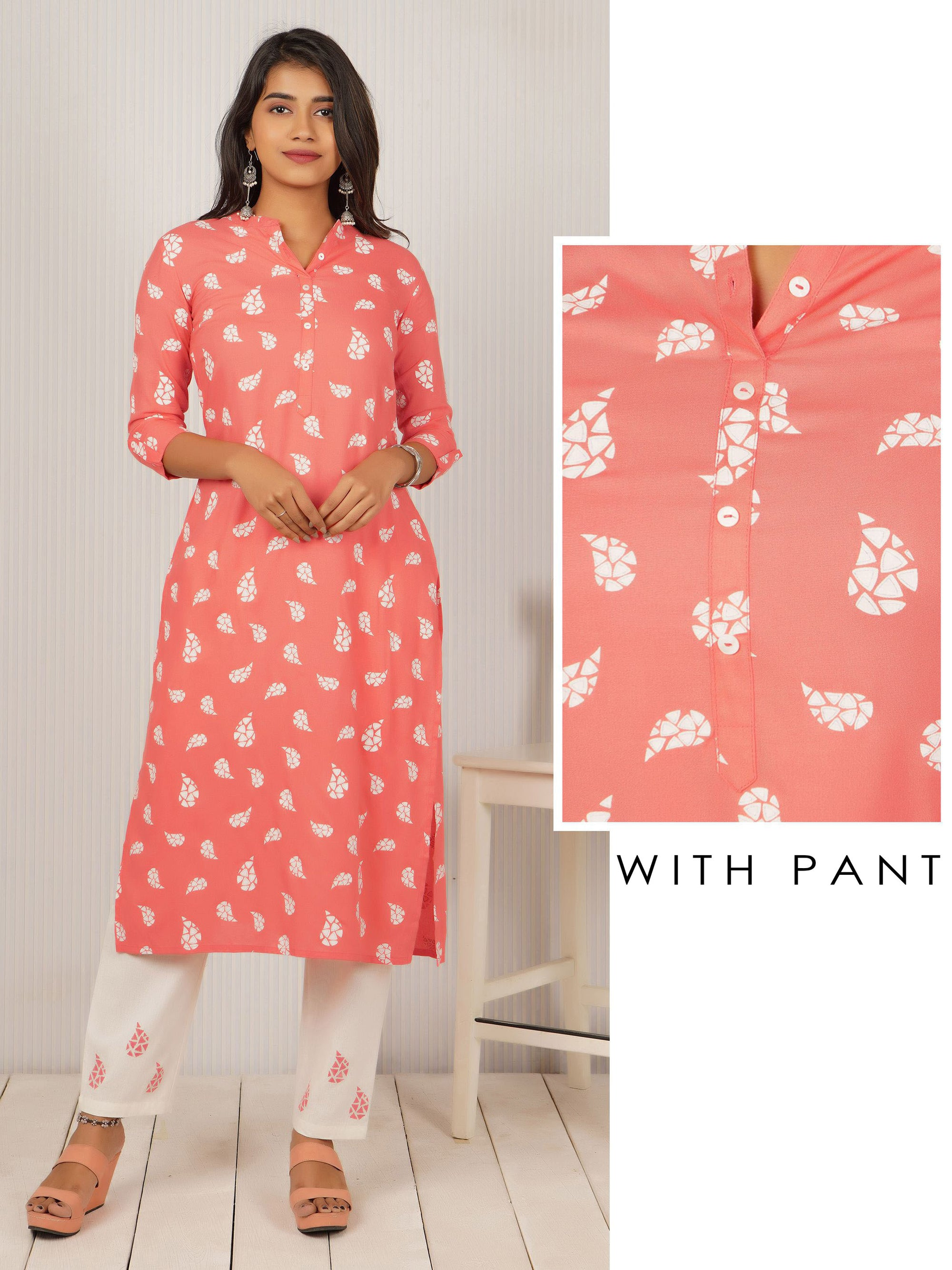 Abstract Geometric Printed Kurti & Minimal Printed Pant Set