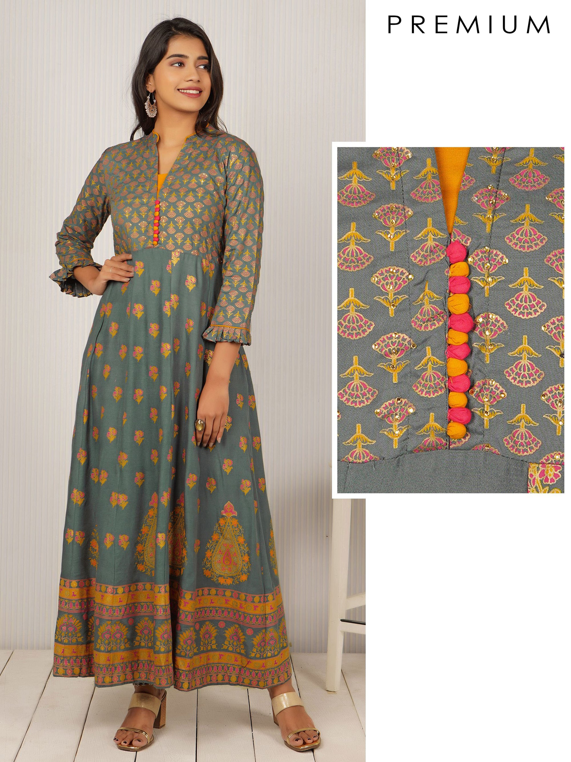 Floral Buta Printed & Stone Worked Anarkali