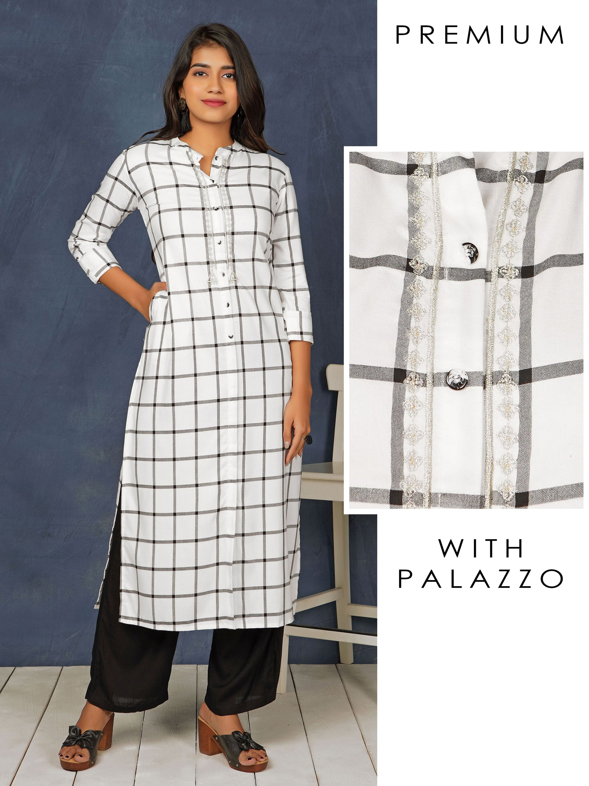 Checkered & Embroidered Kurti with Solid Palazzo