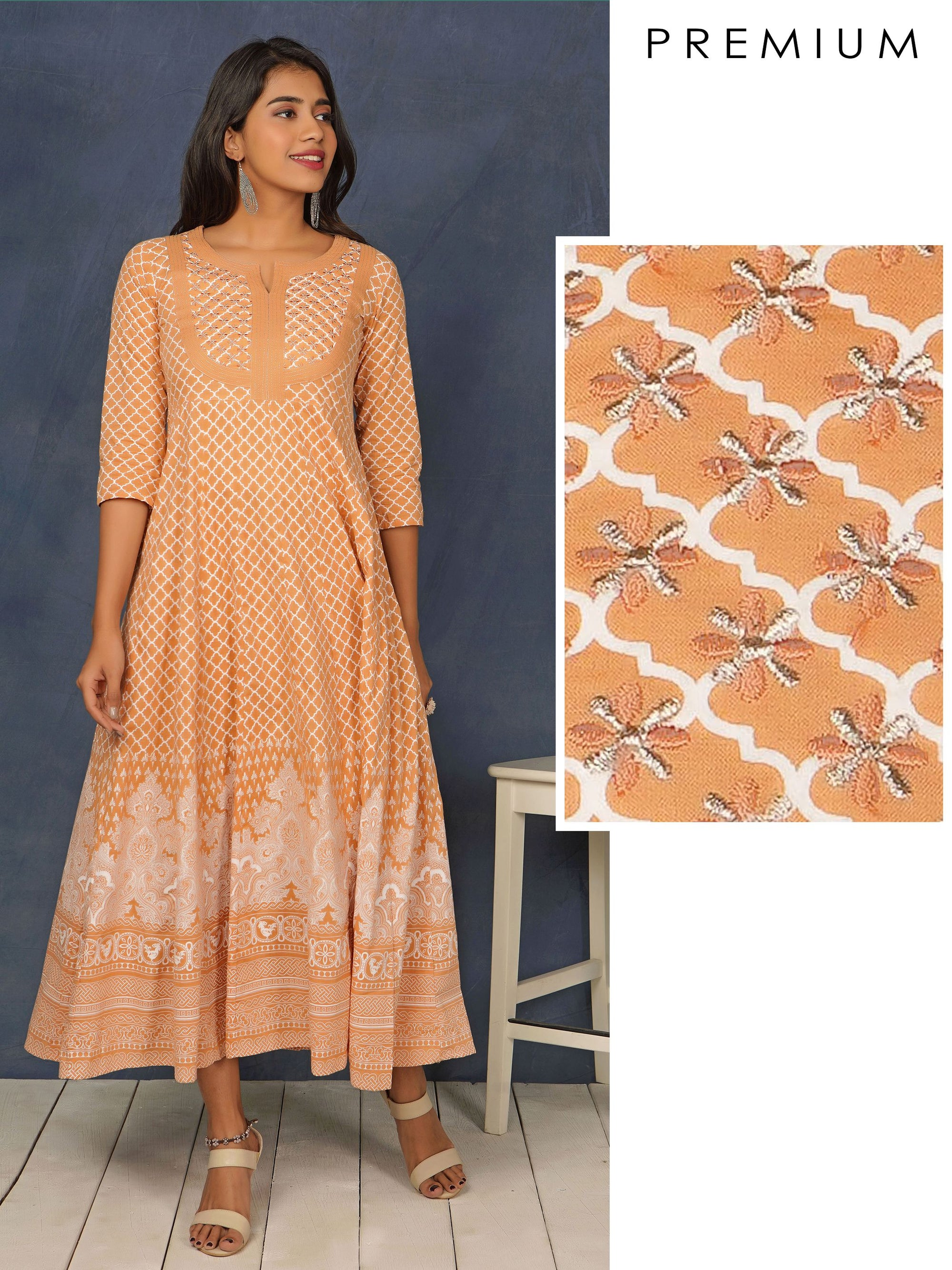 Quatrefoil Printed & Zari Embroidered Anarkali – Fawn Brown