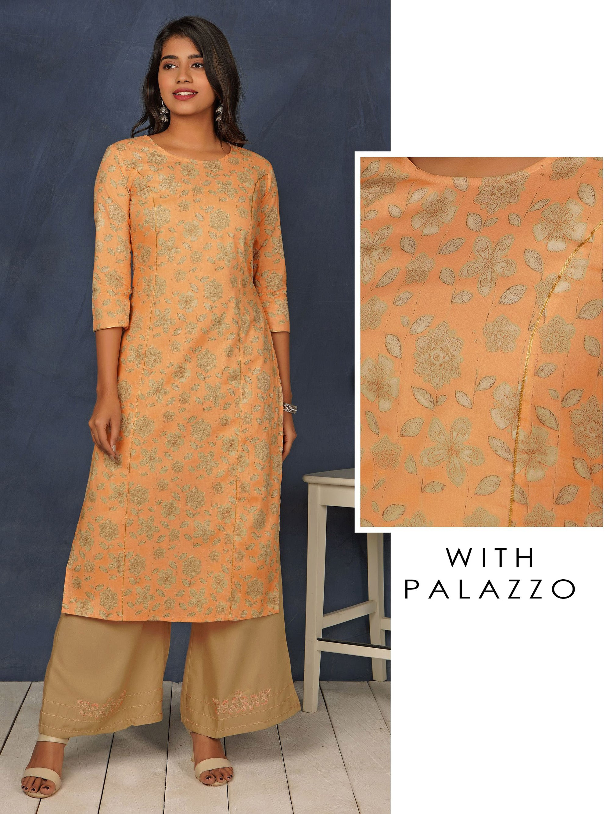 Floral Printed Princess Cut Kurti & Minimal Embroidered Palazzo Set