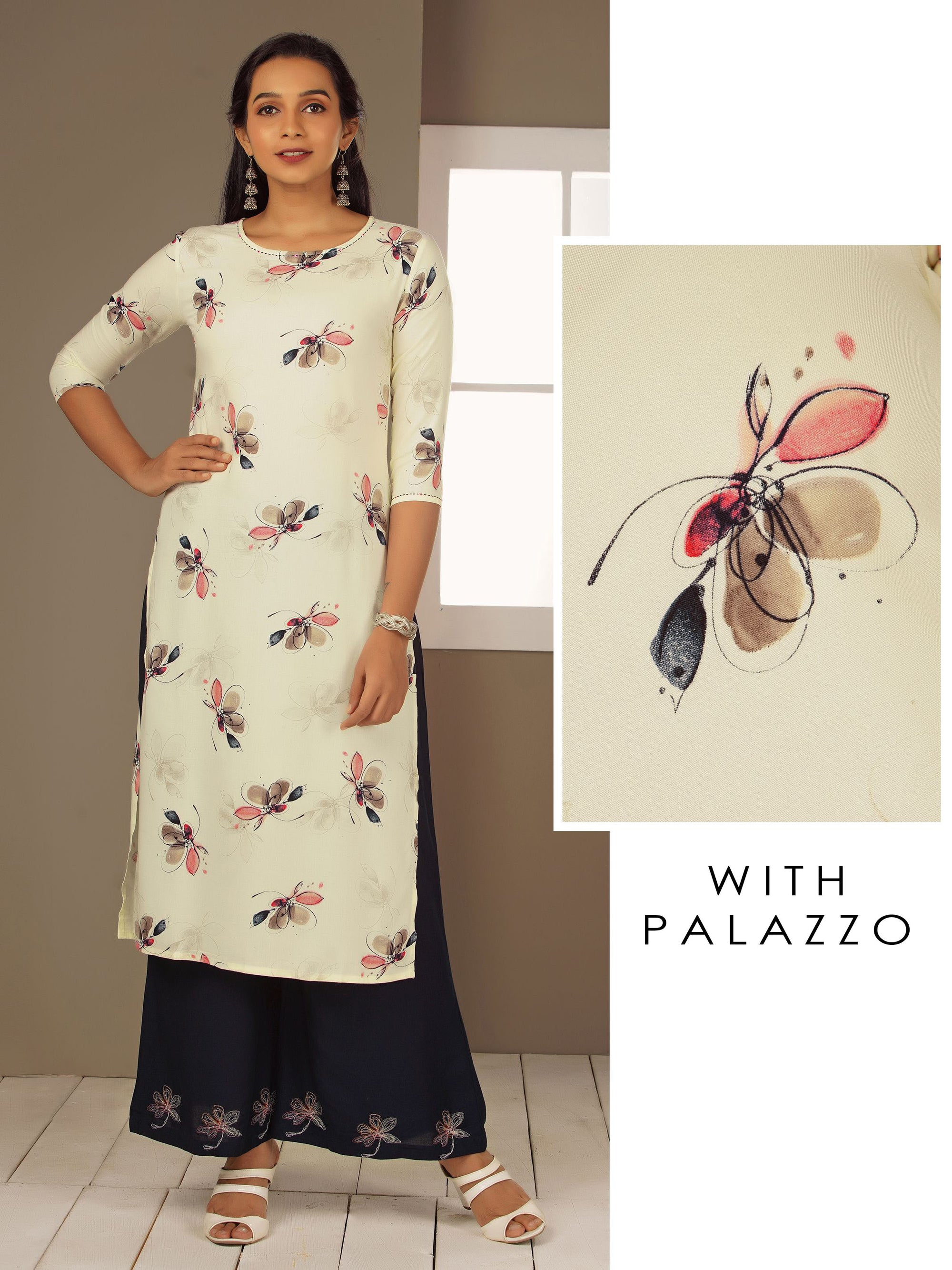 Abstract Floral Printed Kurti & Minimal Embroidered Palazzo Set