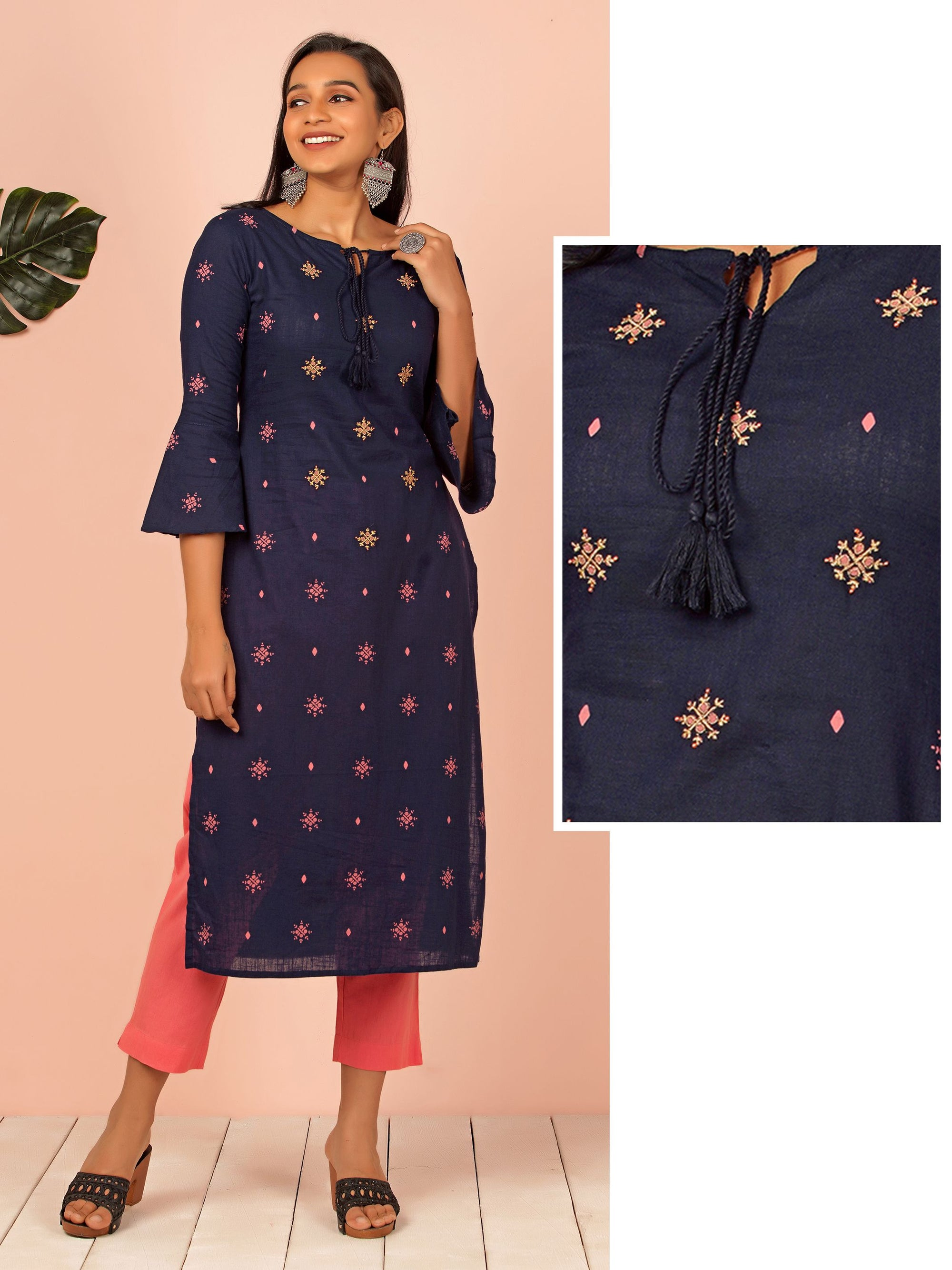 Minimal Zari Embroidered Cotton Kurti