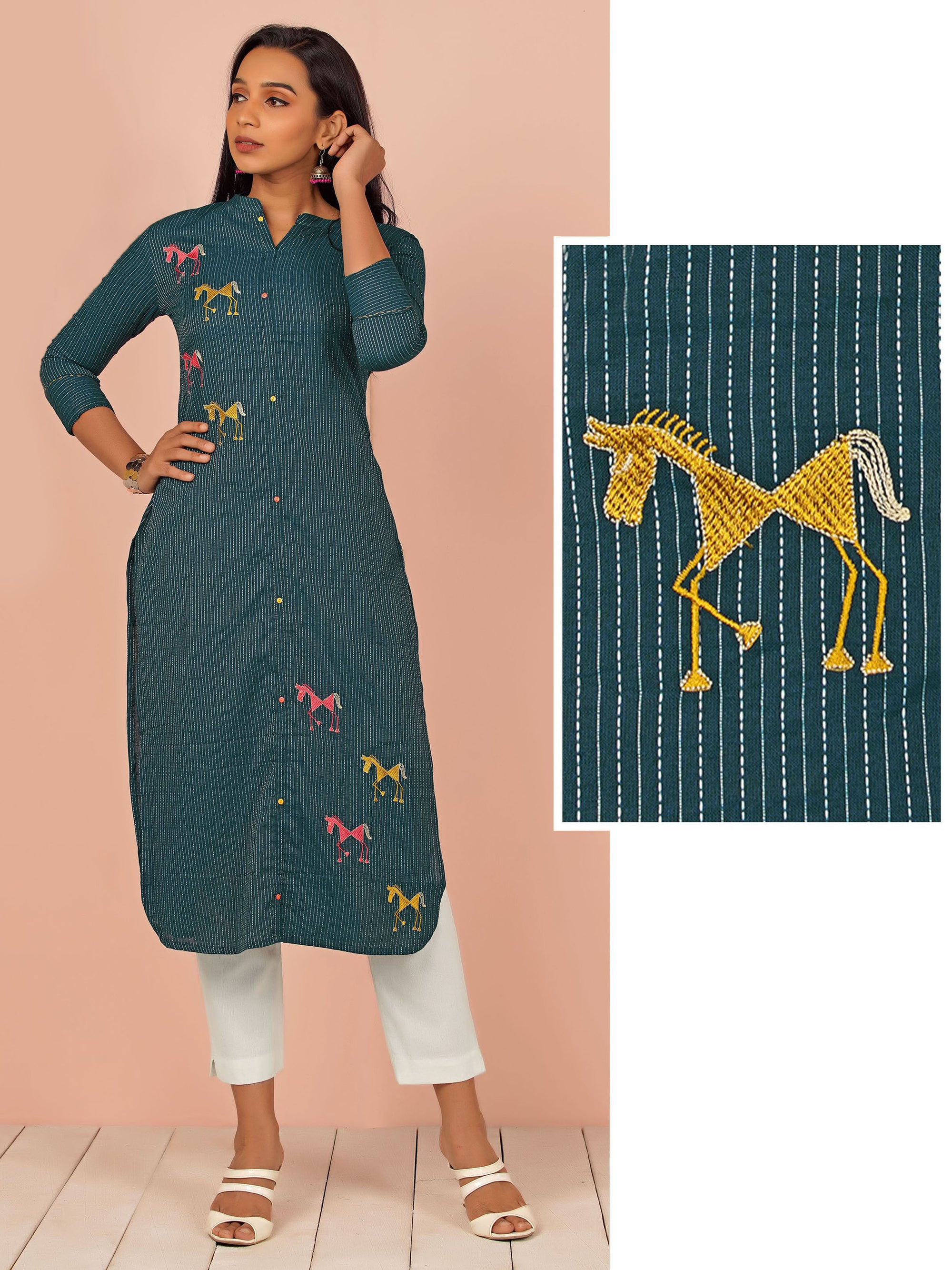 Warli Horse Embroidered Cotton Kurti