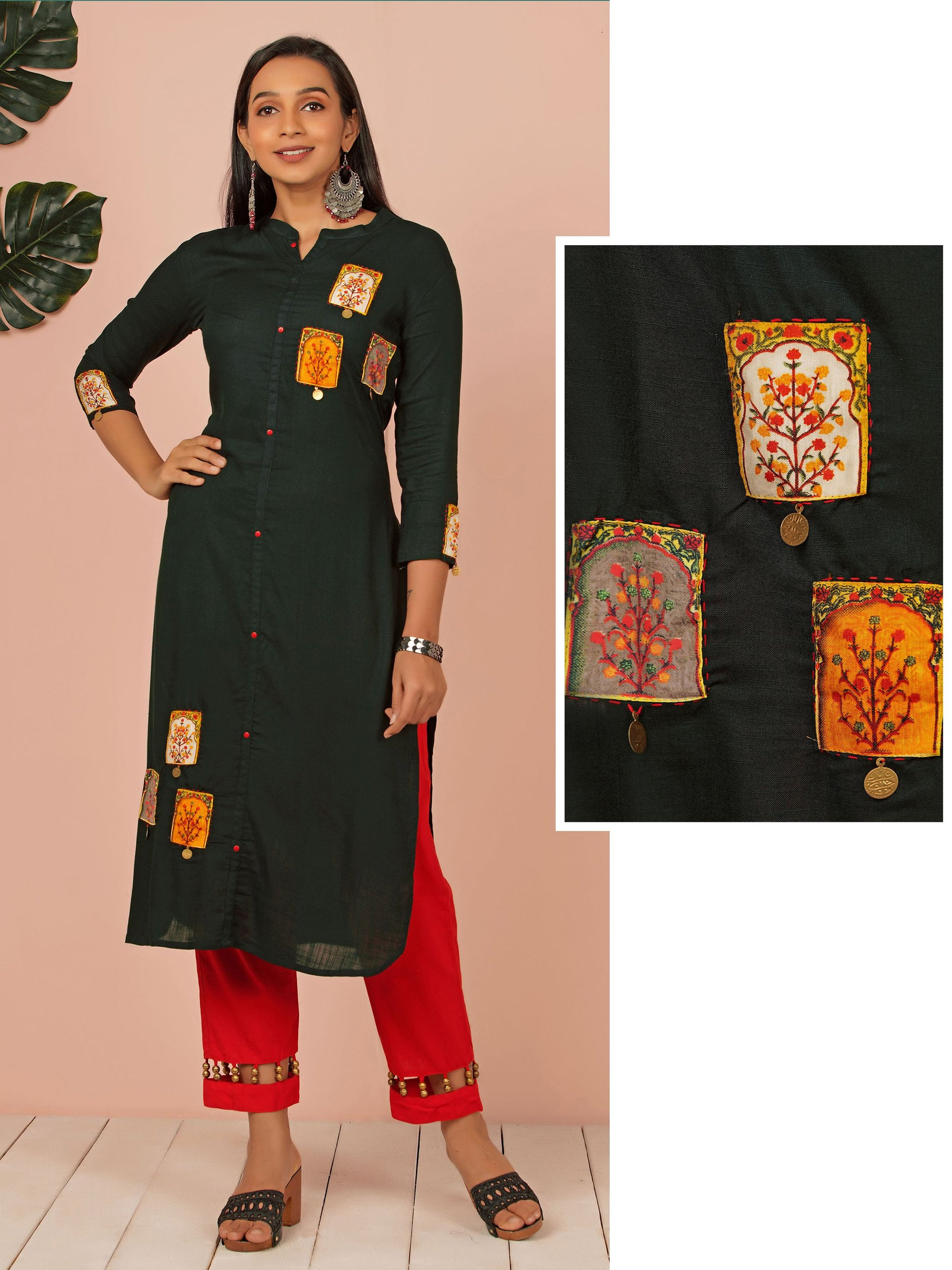 Applique Embroidered & Tiki Coin Cotton Kurti