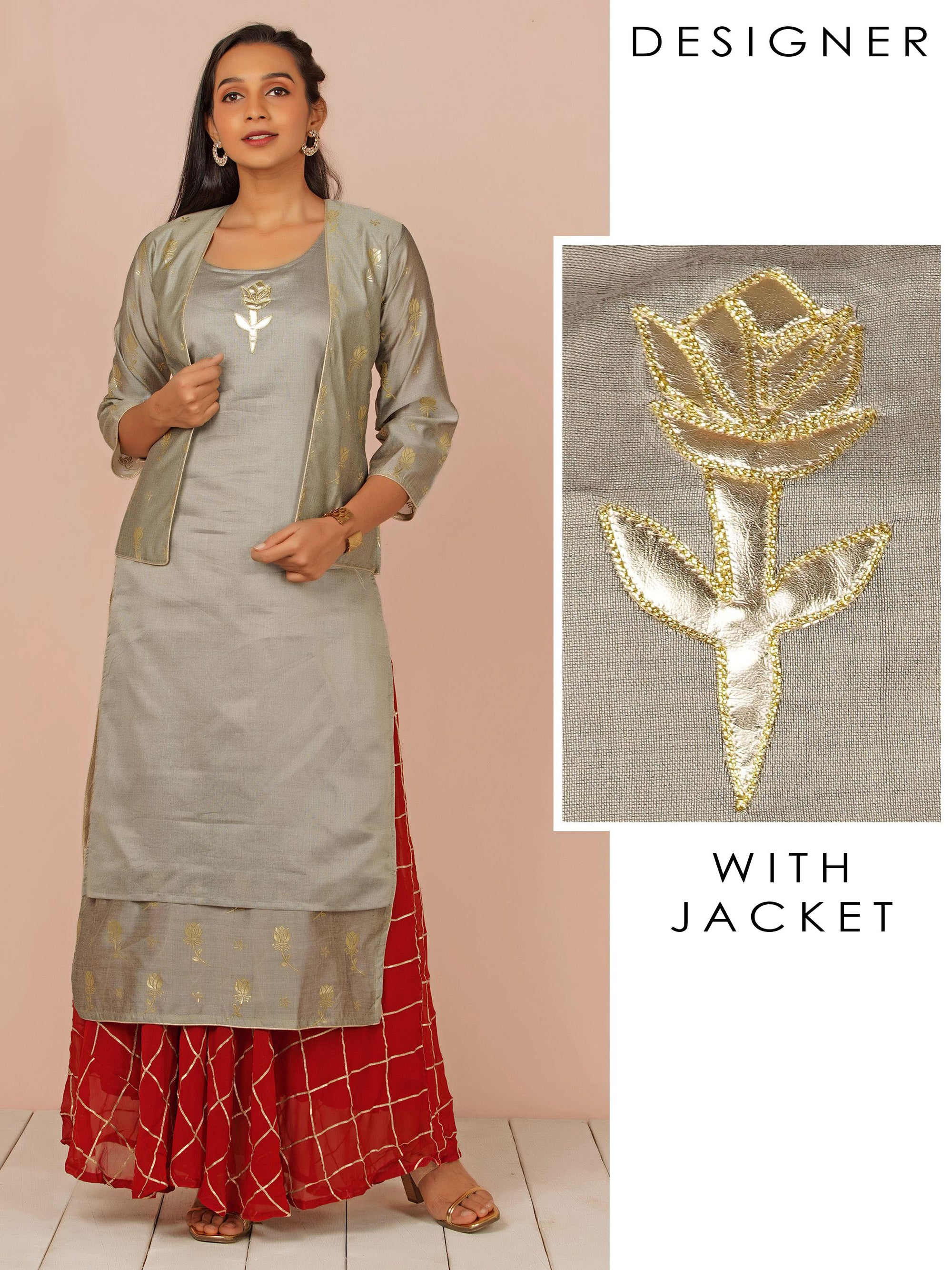 Rexine Applique Embroidered Kurti with Embossed Foil Printed Jacket – Grey