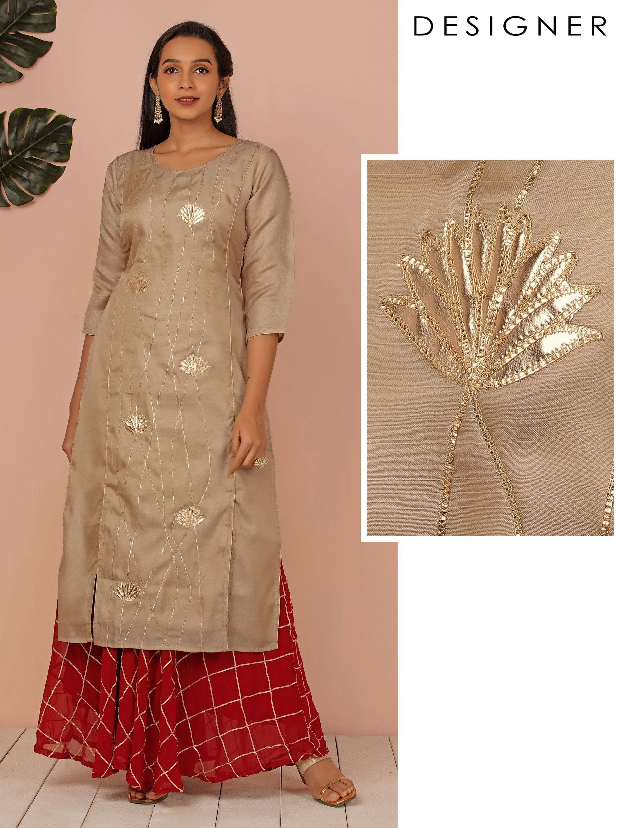 Gold Zari Applique Embroidered Kurti - Beige