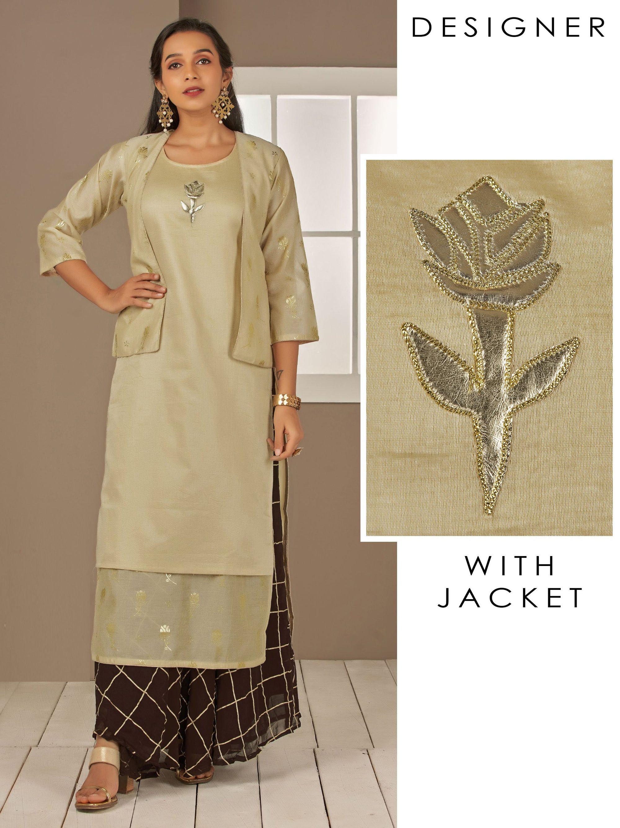 Rexine Applique Embroidered Kurti with Embossed Foil Printed Jacket – Beige