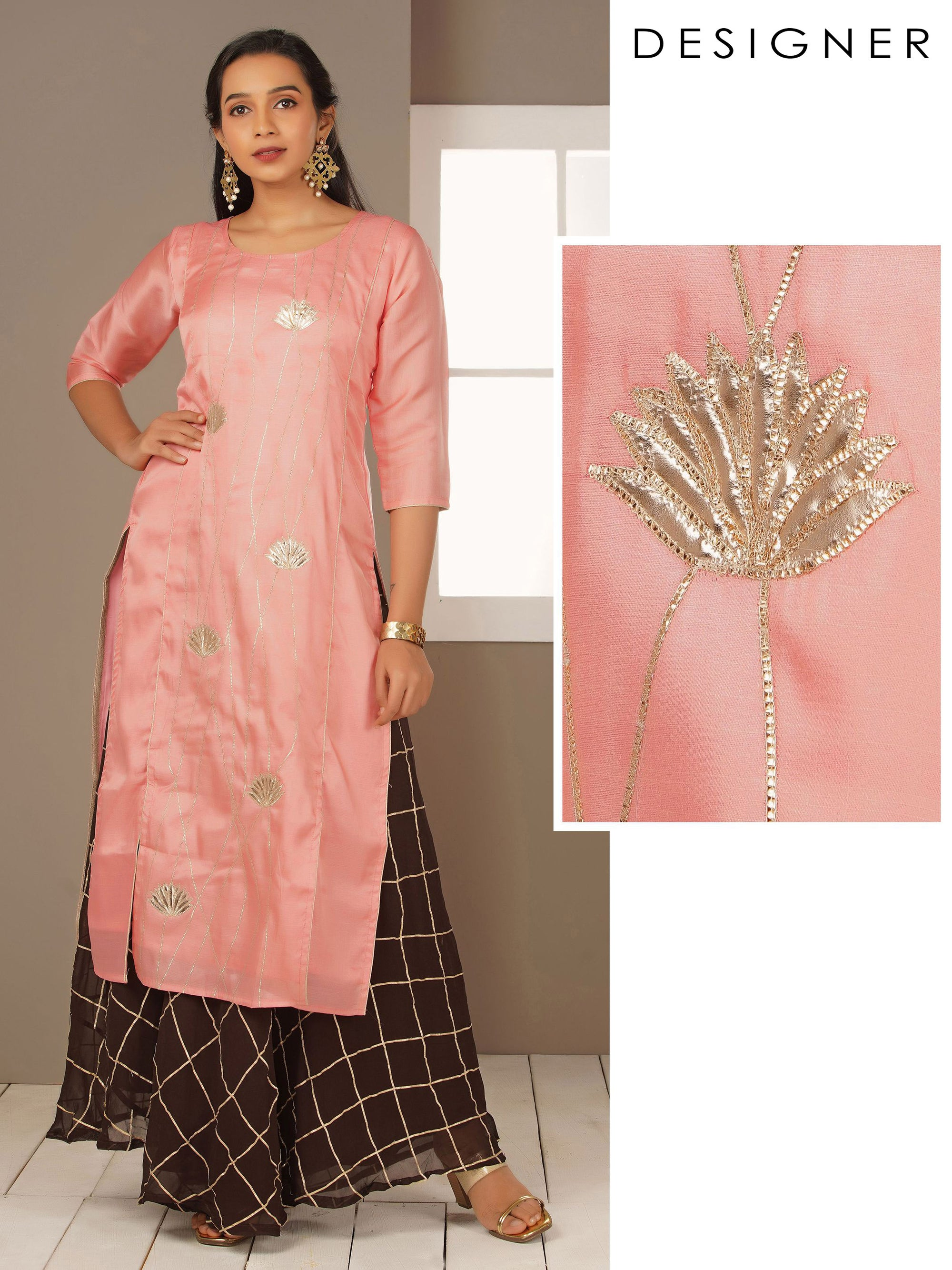 Gold Zari Applique Embroidered Kurti - Pink