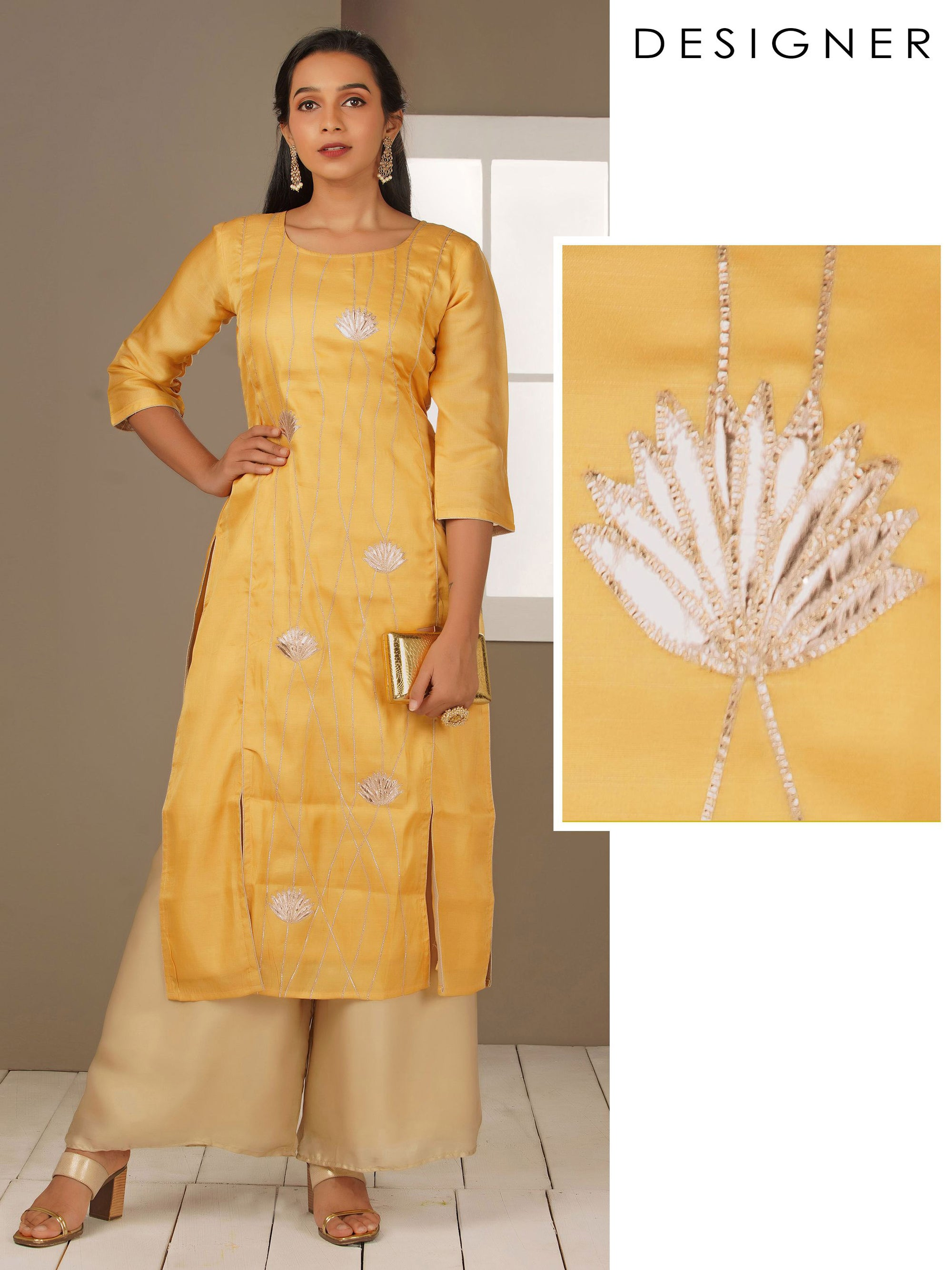 Gold Zari Applique Embroidered Kurti - Yellow