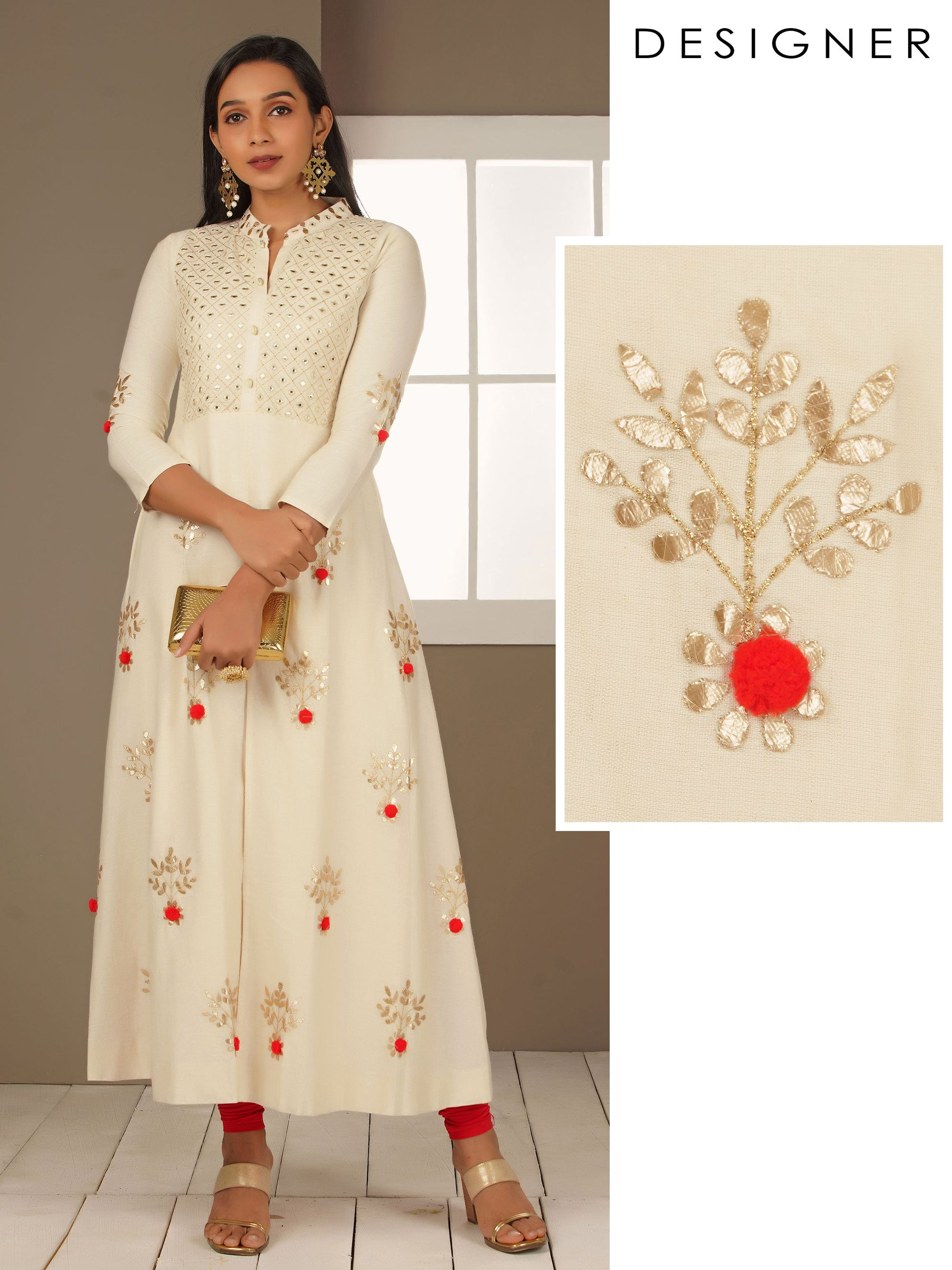 Pom-Pom Enhanced Rexin Gota Worked Kurti
