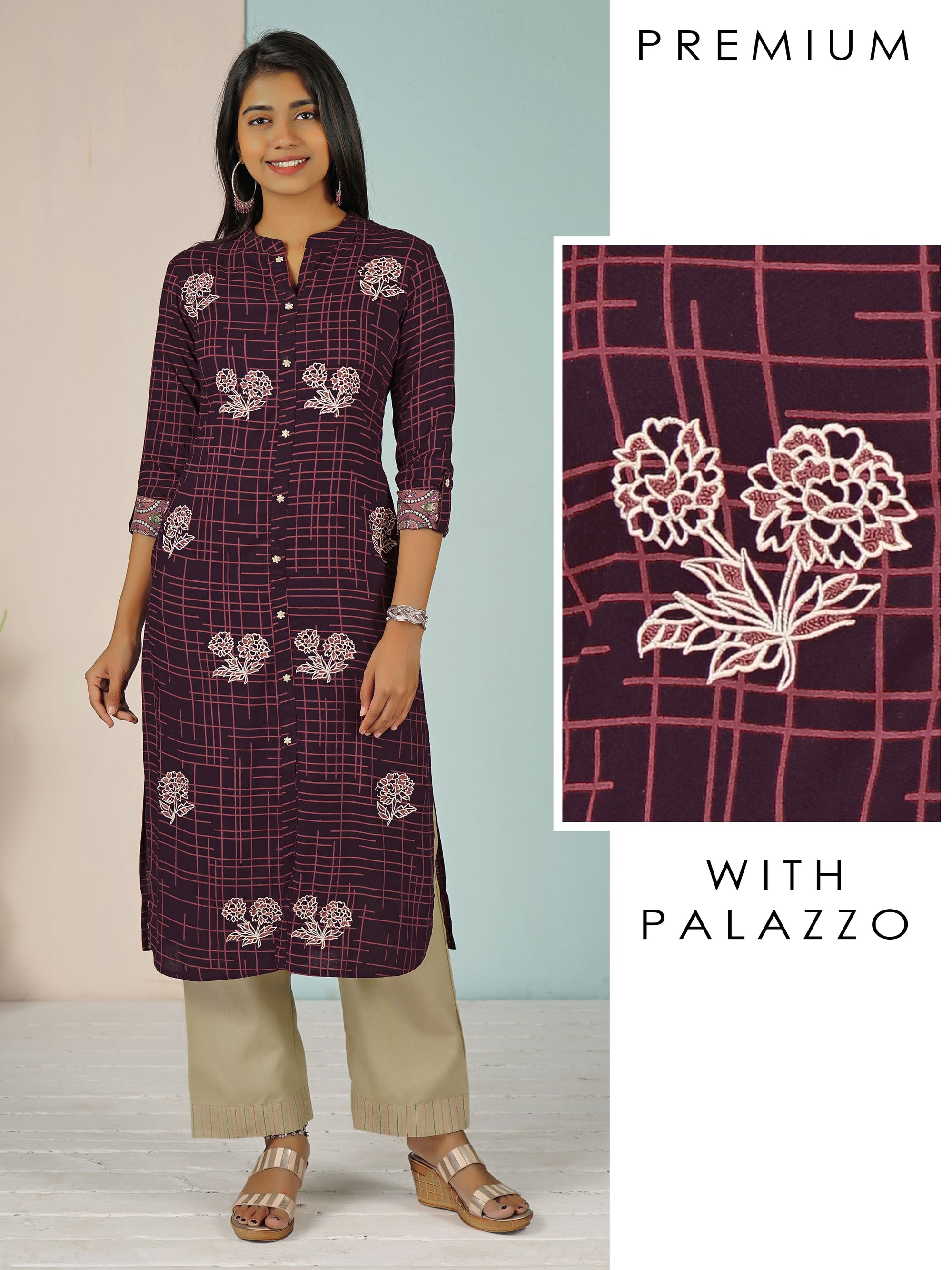 Floral Embroidered Kurti with Running Stitched Palazzo